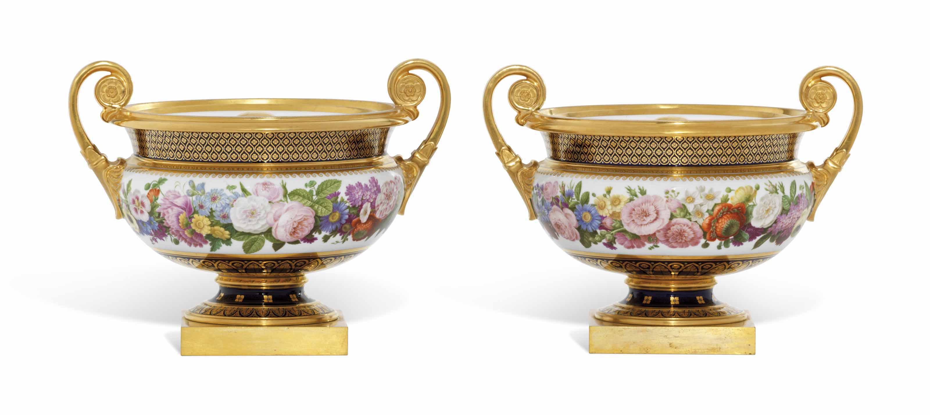 A PAIR OF SEVRES (HARD PASTE) ICE-PAILS, COVERS AND LINERS (GLACIERE CHANOU) FROM THE SERVICE PRESENTED BY KING CHARLES X OF FRANCE TO SIR THOMAS LAWRENCE
