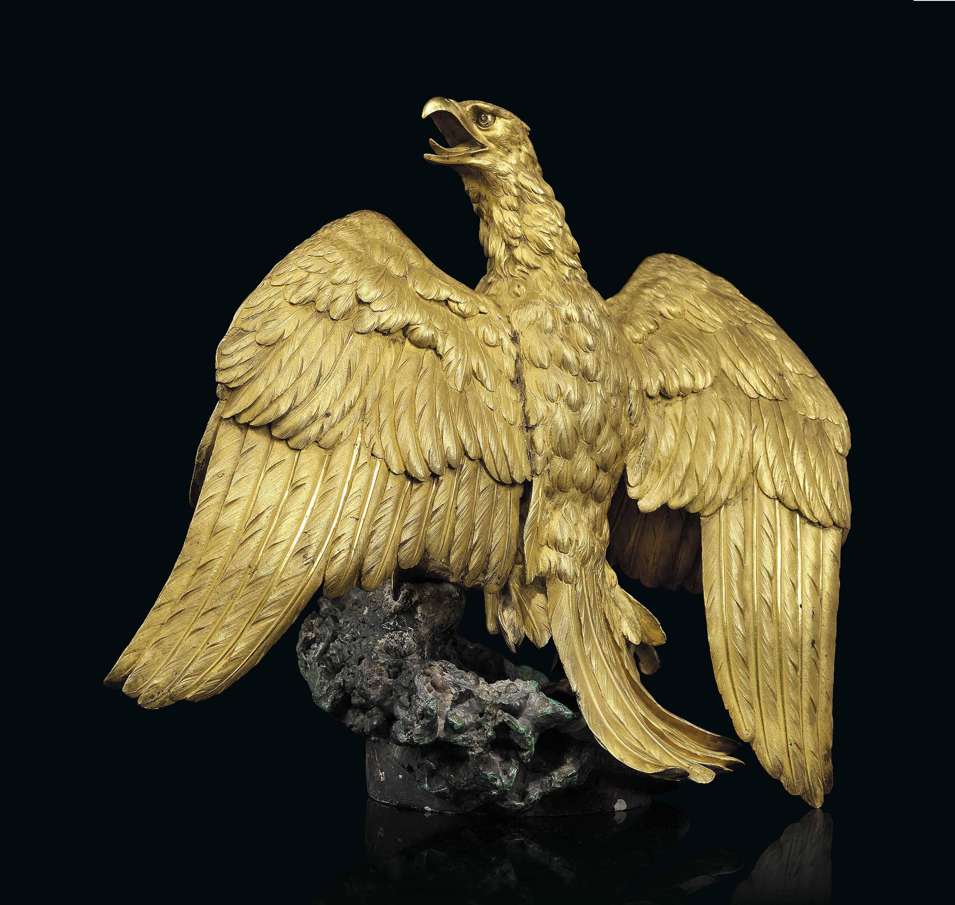 A RUSSIAN ORMOLU AND MALACHITE MODEL OF AN EAGLE