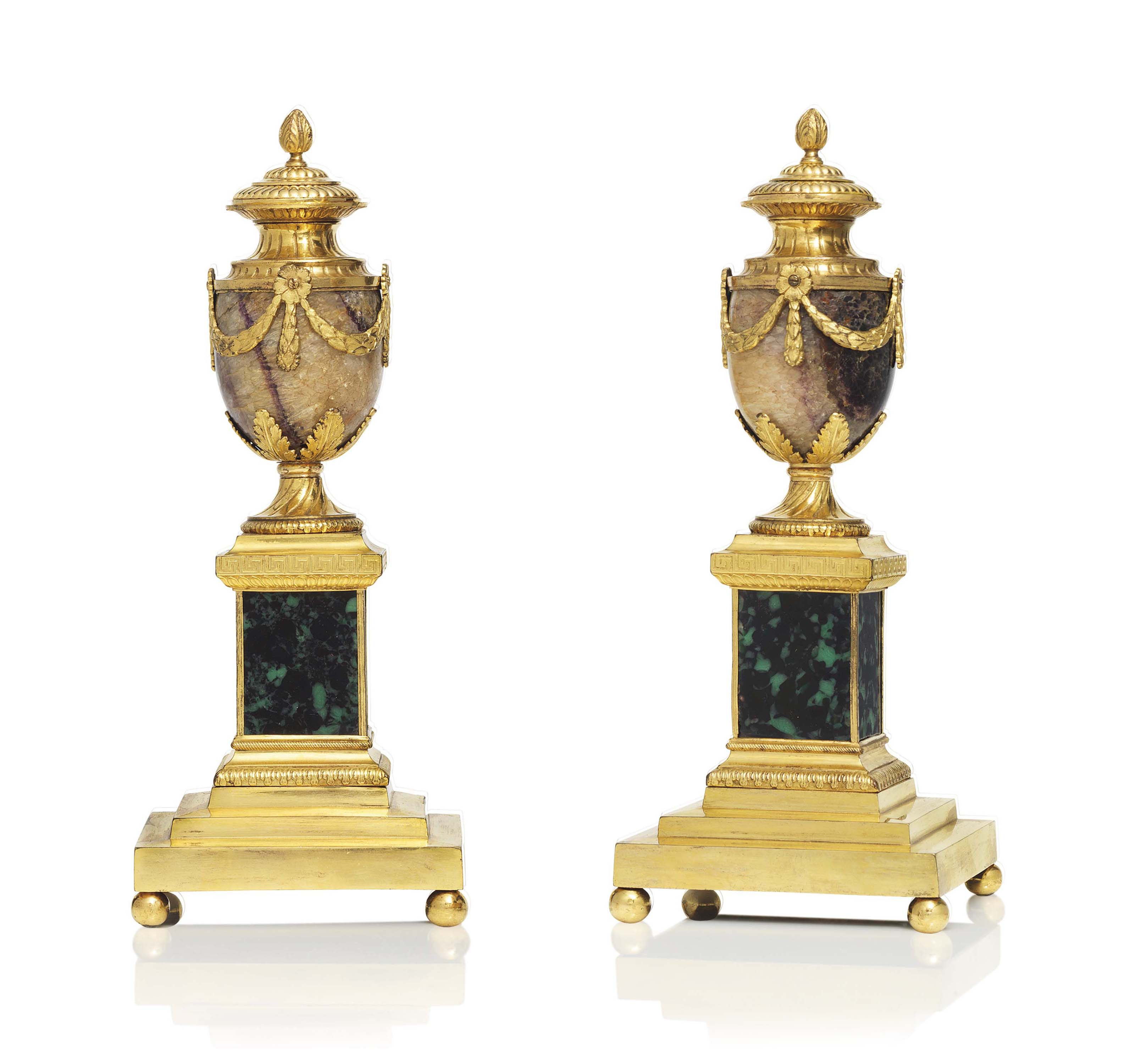 A PAIR OF GEORGE III ORMOLU-MOUNTED BLUE JOHN AND SIMULATED MALACHITE 'CLEOPATRA' VASES