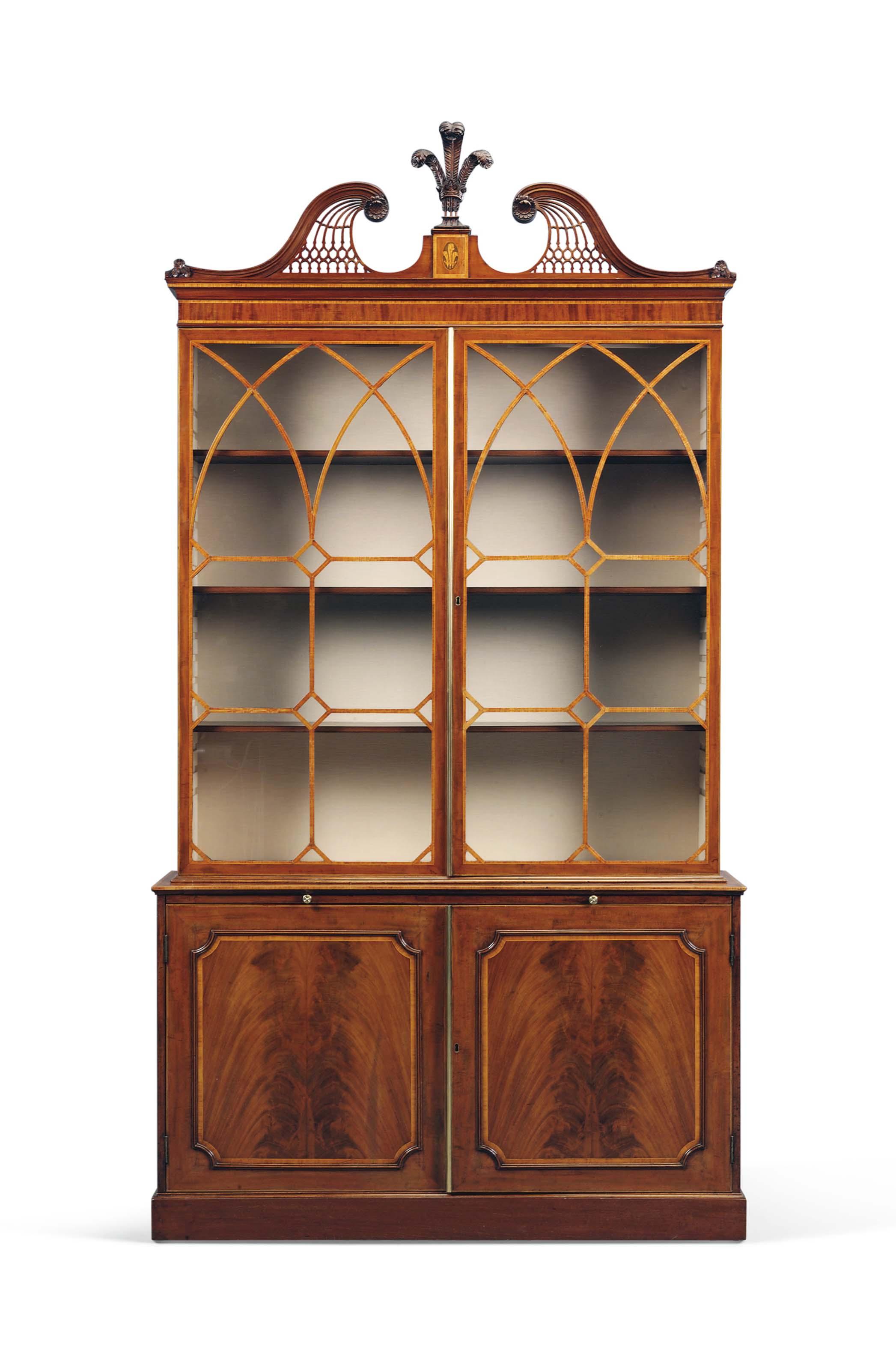 A George Iii Mahogany Bookcase Cabinet Circa 1780