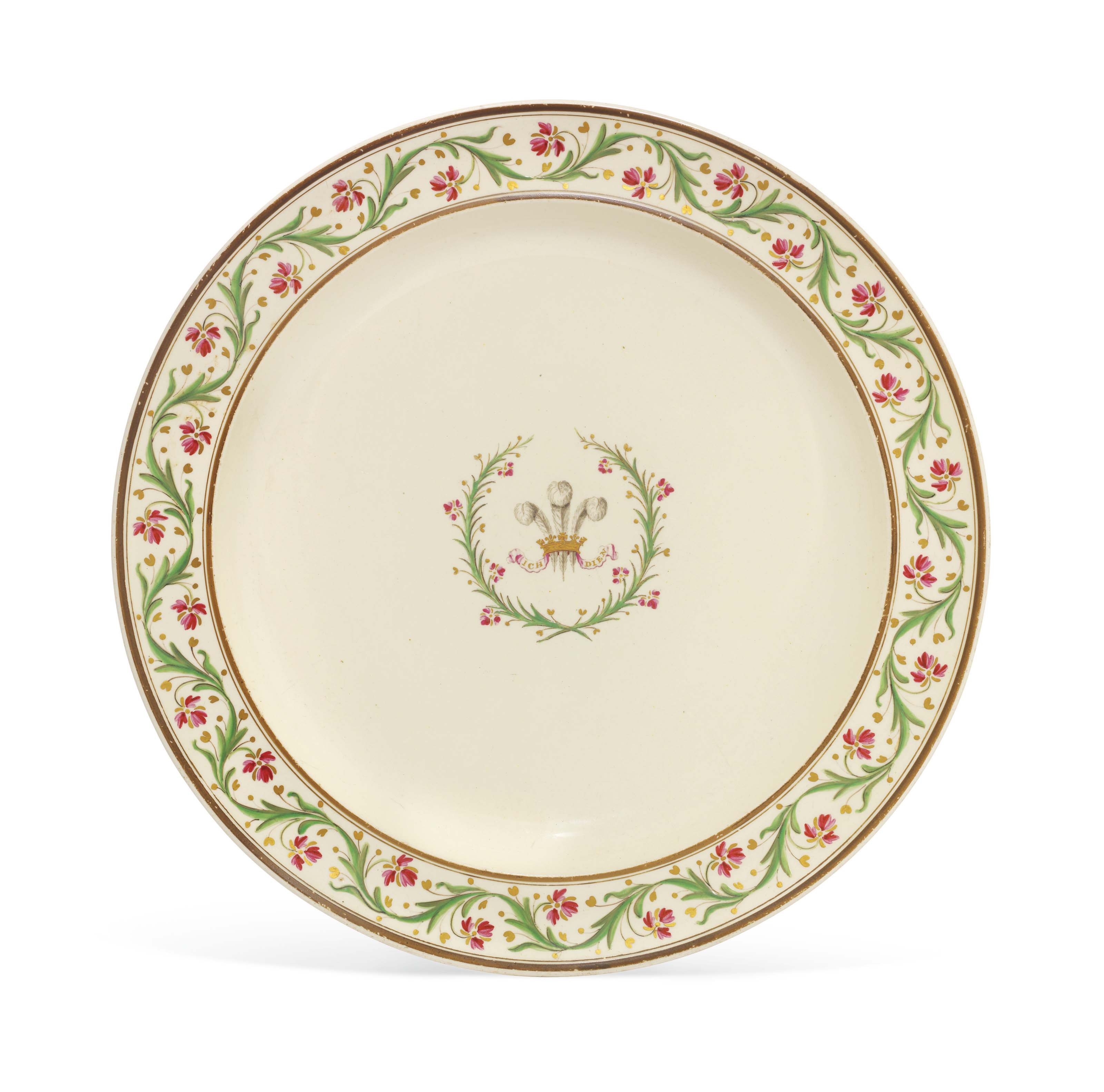 A Wedgwood creamware plate from the Prince of Wales service, circa 1780. 9⅞ in (25 cm) diameter. Sold for £2,000 on 17 May 2017 at Christie's in London