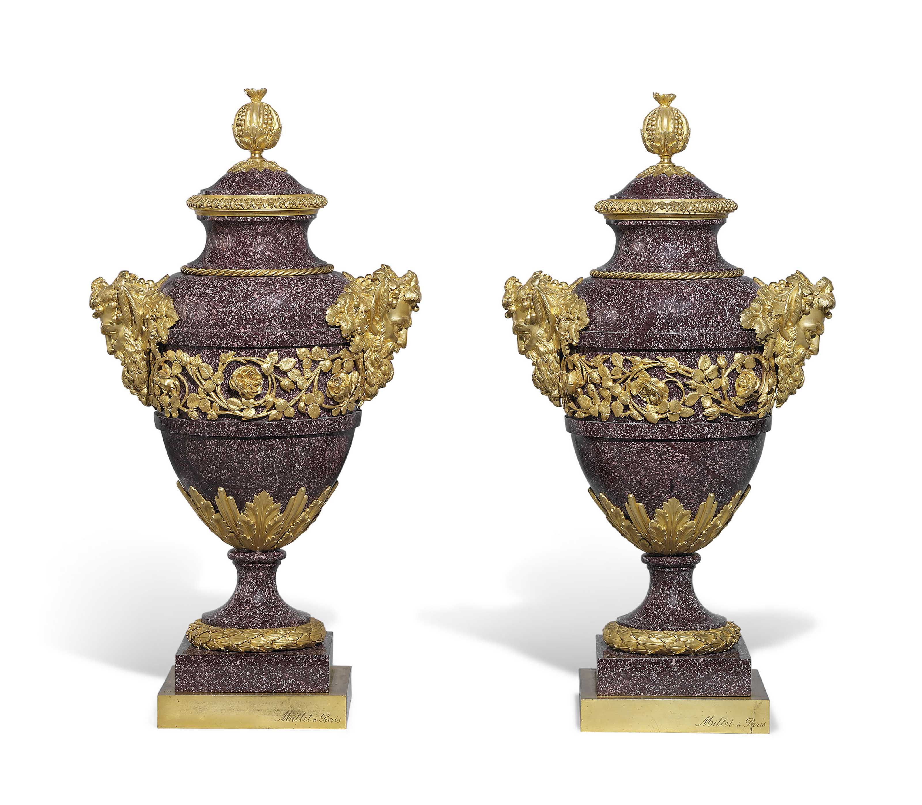 A PAIR OF FRENCH ORMOLU-MOUNTED PORPHYRY VASES AND COVERS