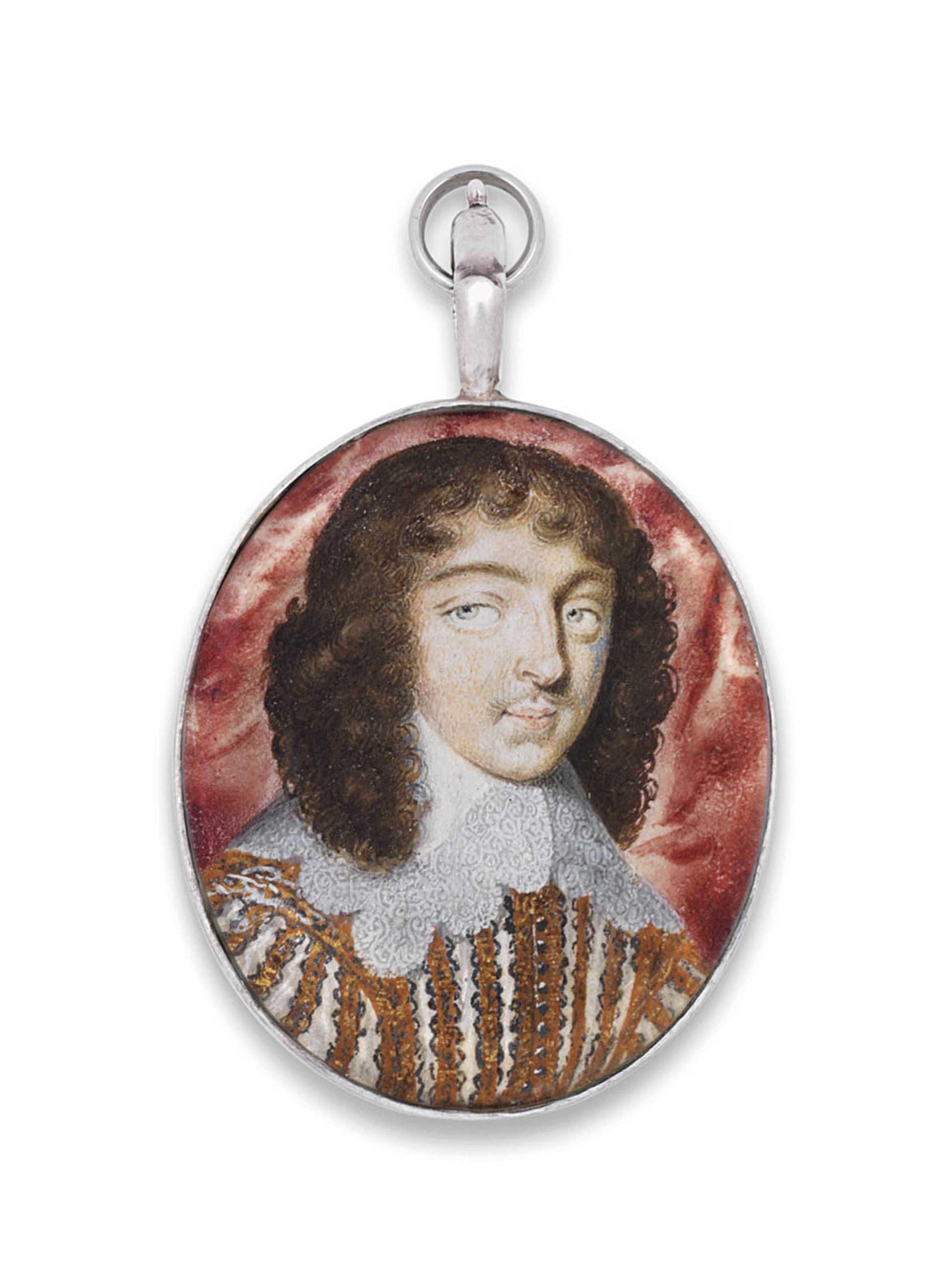 A gentleman called Monsigneur de Pesi; red curtain background