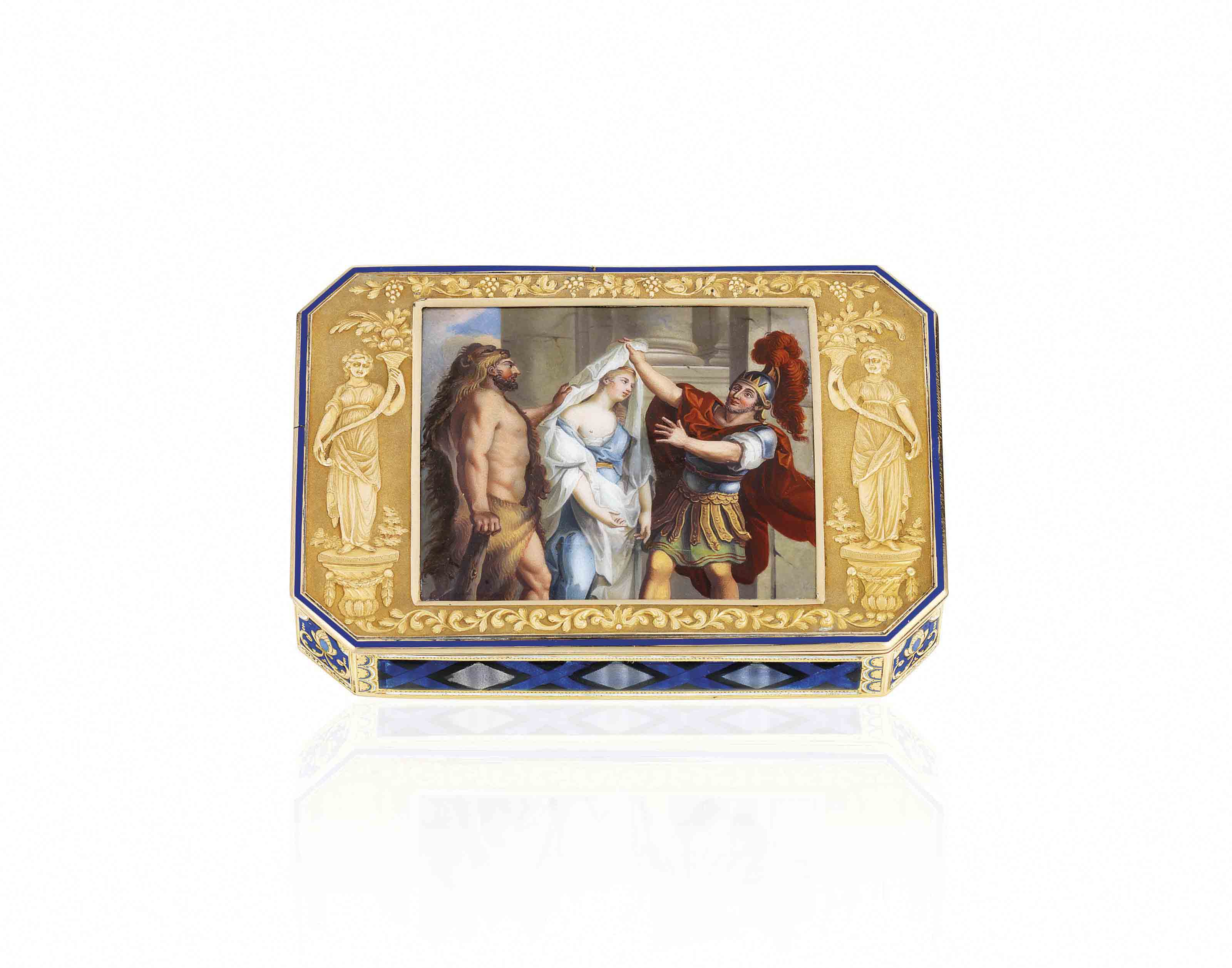 A SWISS ENAMELLED GOLD SNUFF-BOX SET WITH AN ENAMEL PLAQUE