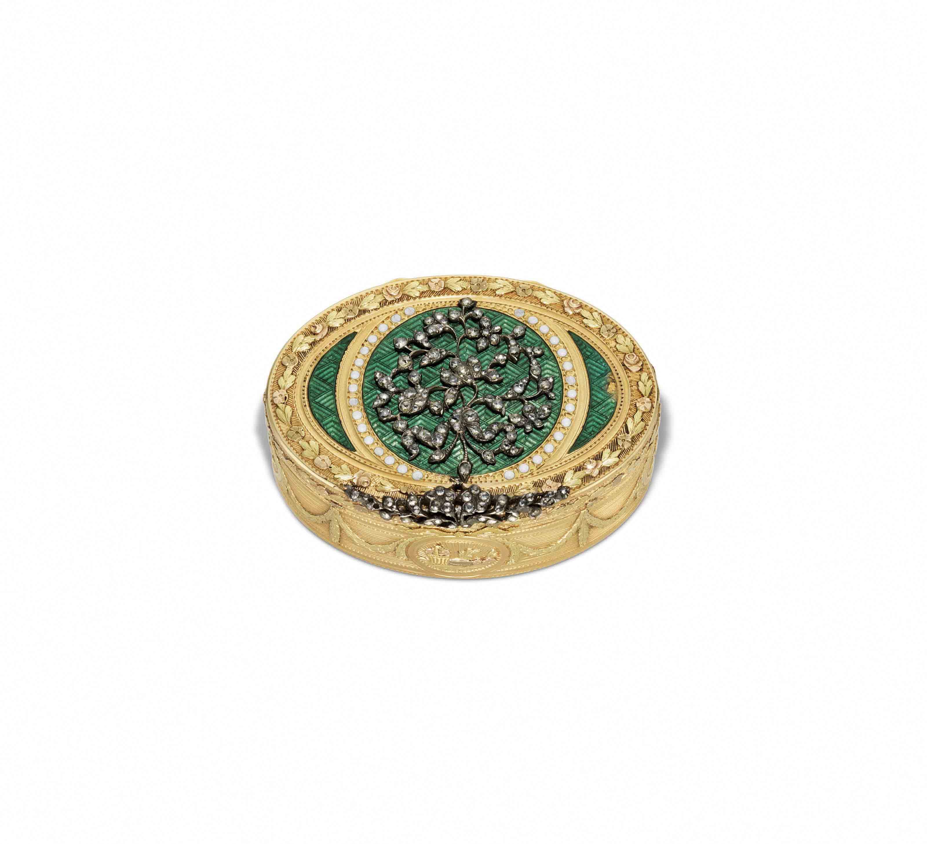 A SWISS JEWELLED ENAMELLED VARI-COLOUR GOLD SNUFF-BOX