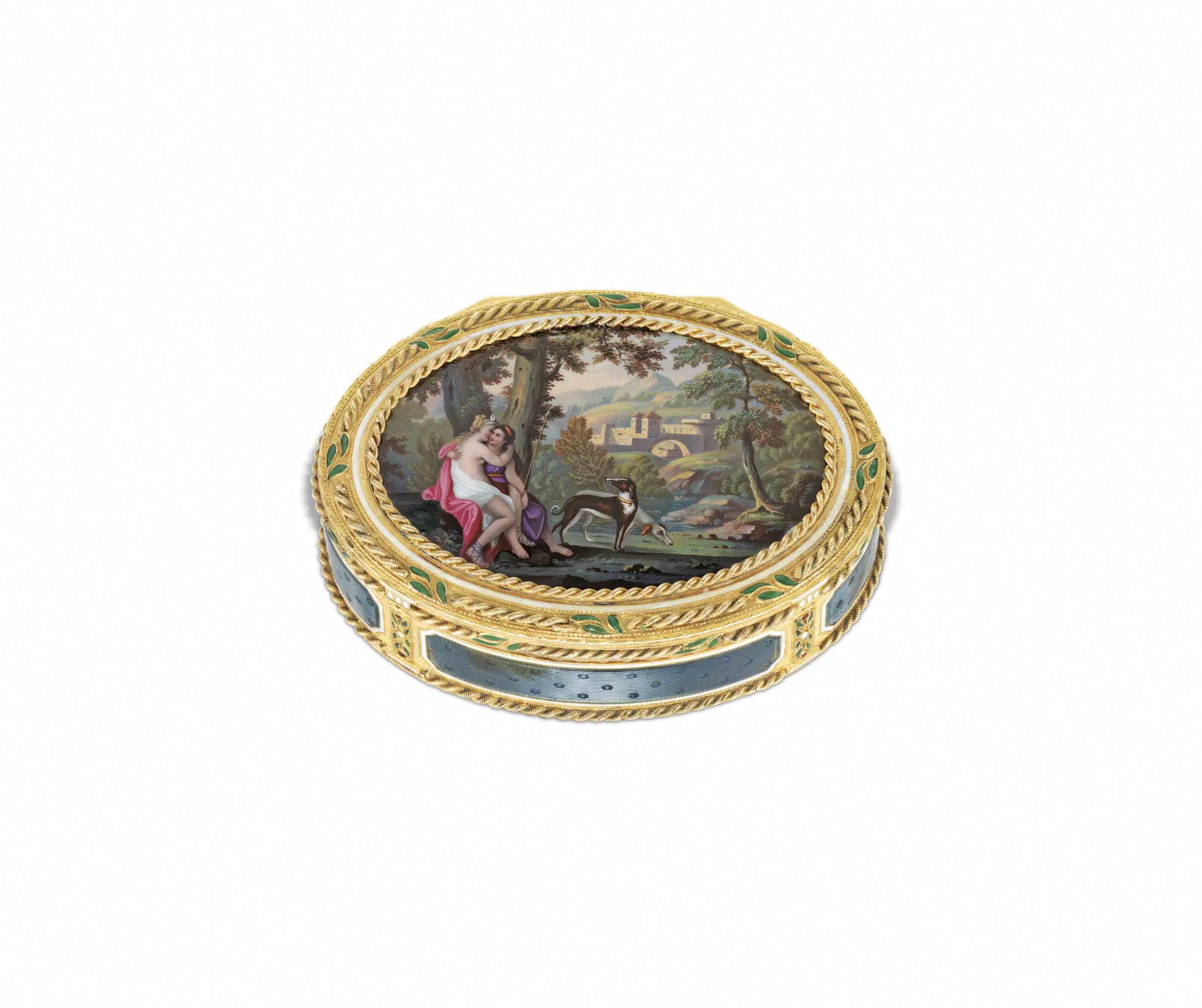 a german enamelled gold snuff box probably hanau circa 1800 christie 39 s. Black Bedroom Furniture Sets. Home Design Ideas