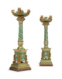 A PAIR OF JACOB PETIT PORCELAIN GREEN-GROUND FIVE-LIGHT CANDELABRA