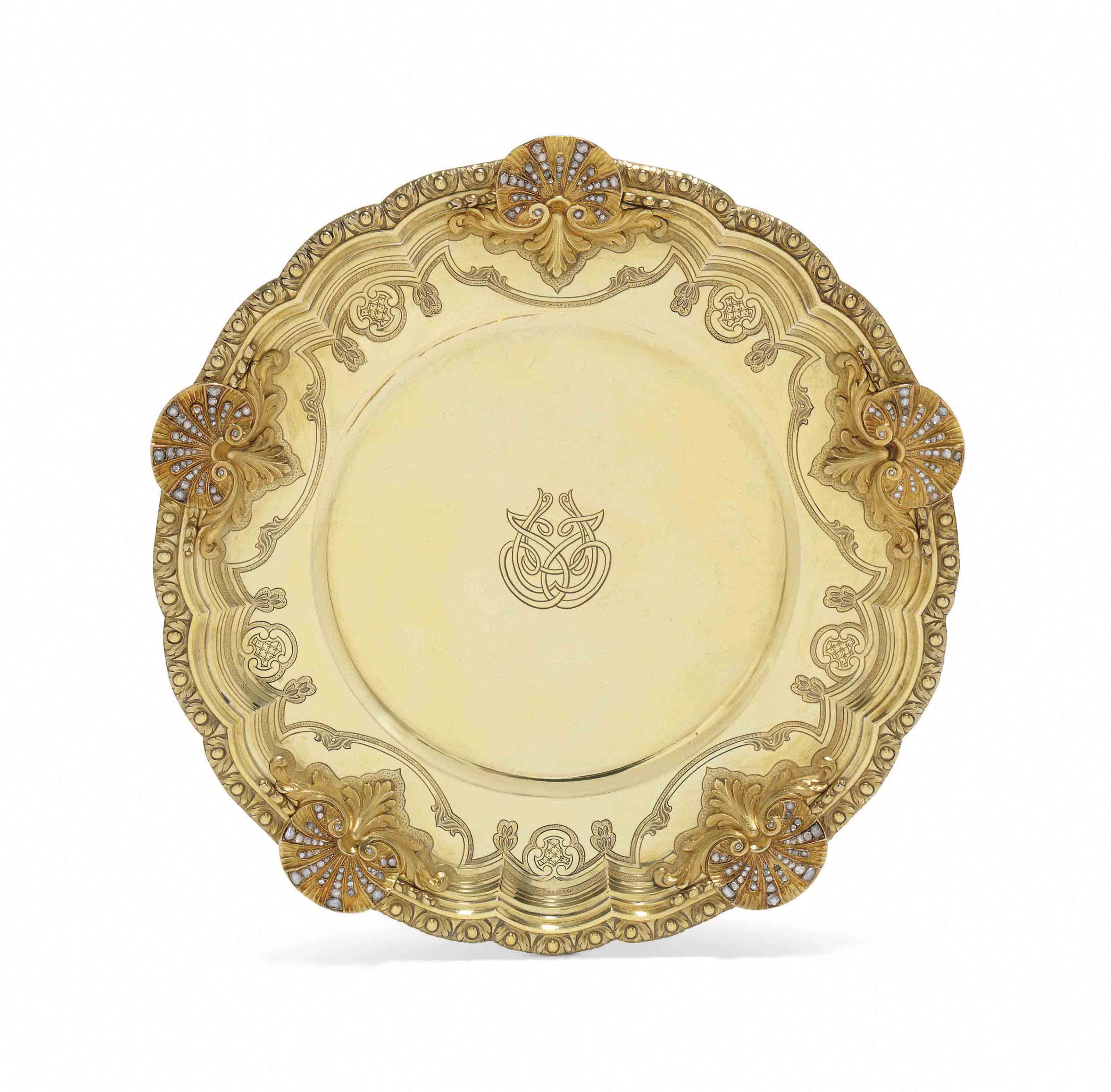 A FRENCH SILVER-GILT, GOLD AND DIAMOND-SET SECOND-COURSE DISH