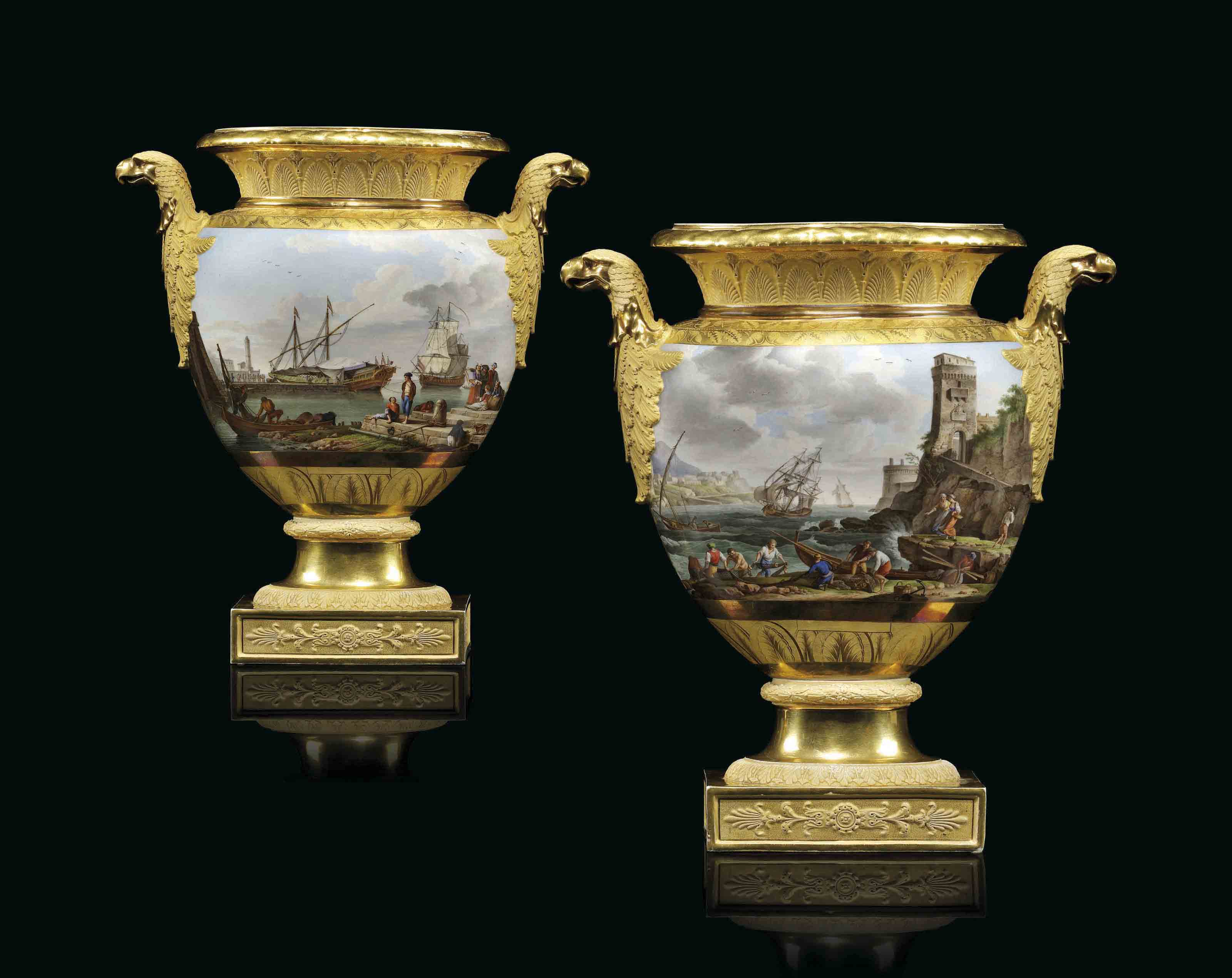 A PAIR OF PARIS (SCHOELCHER) PORCELAIN GOLD-GROUND TWO-HANDL...