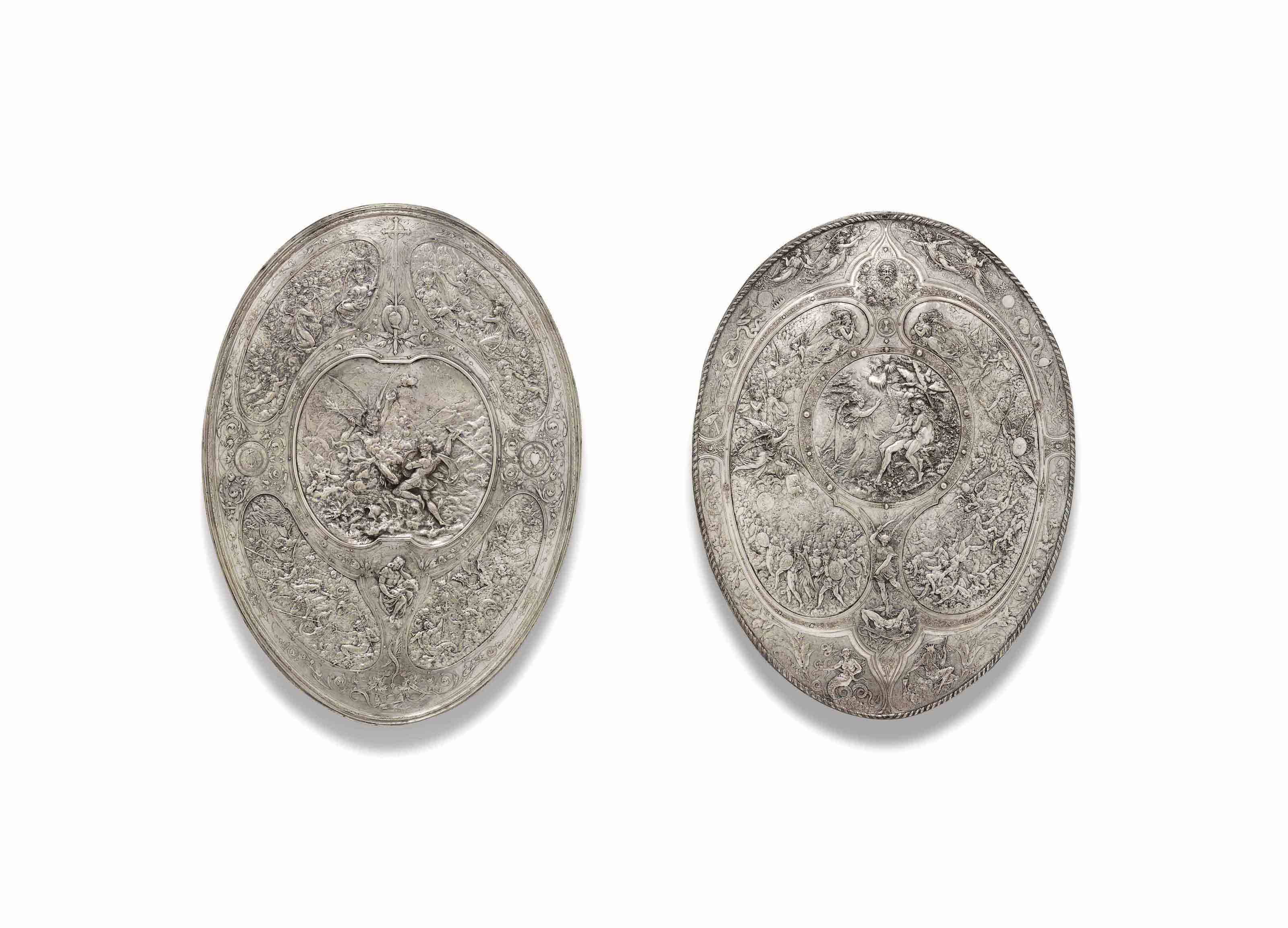 TWO VICTORIAN ELECTROTYPE COPPER SHIELDS