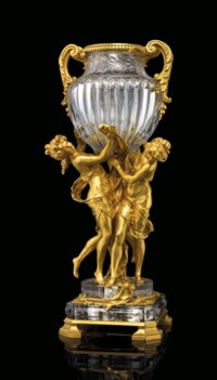 AN IMPORTANT FRENCH ORMOLU-MOUNTED MOULDED-CRYSTAL VASE, 'VASE LES TROIS GRACES'