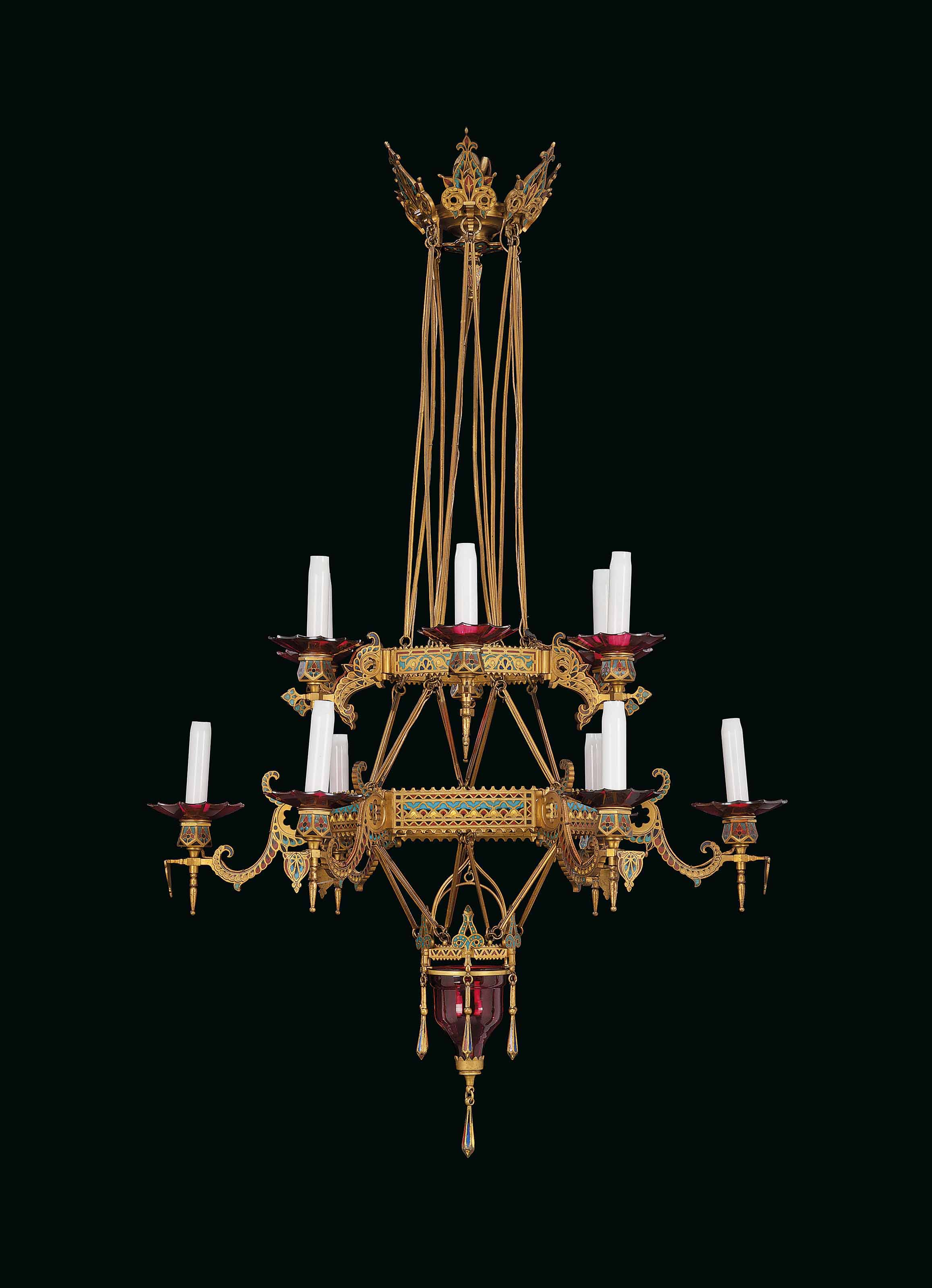 A FRENCH ORMOLU AND CLOISONNE ENAMEL TWELVE-LIGHT CHANDELIER