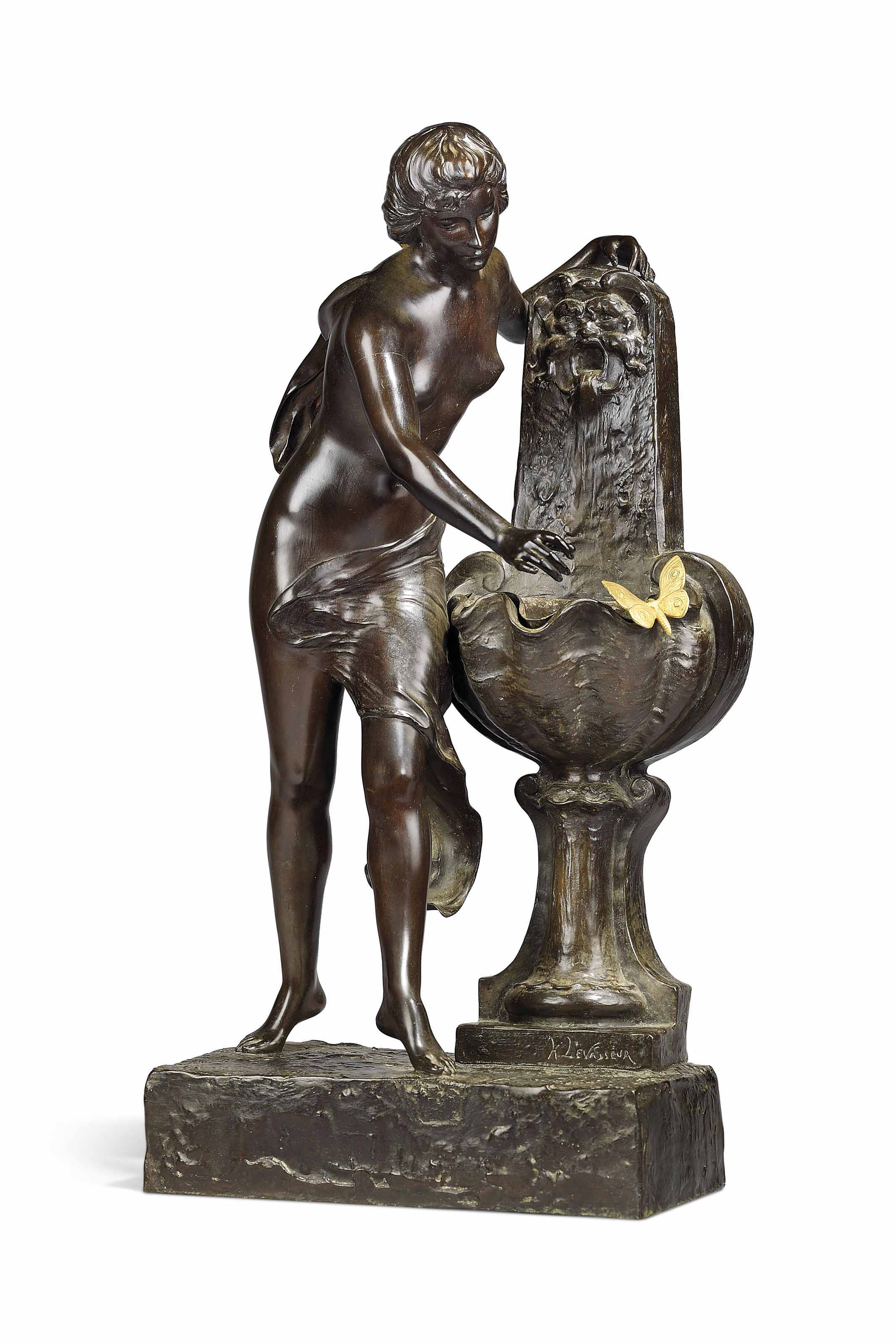 A FRENCH GILT AND PATINATED BRONZE FIGURAL FOUNTAIN GROUP, ENTITLED 'NYMPHE ET PAPILLON'