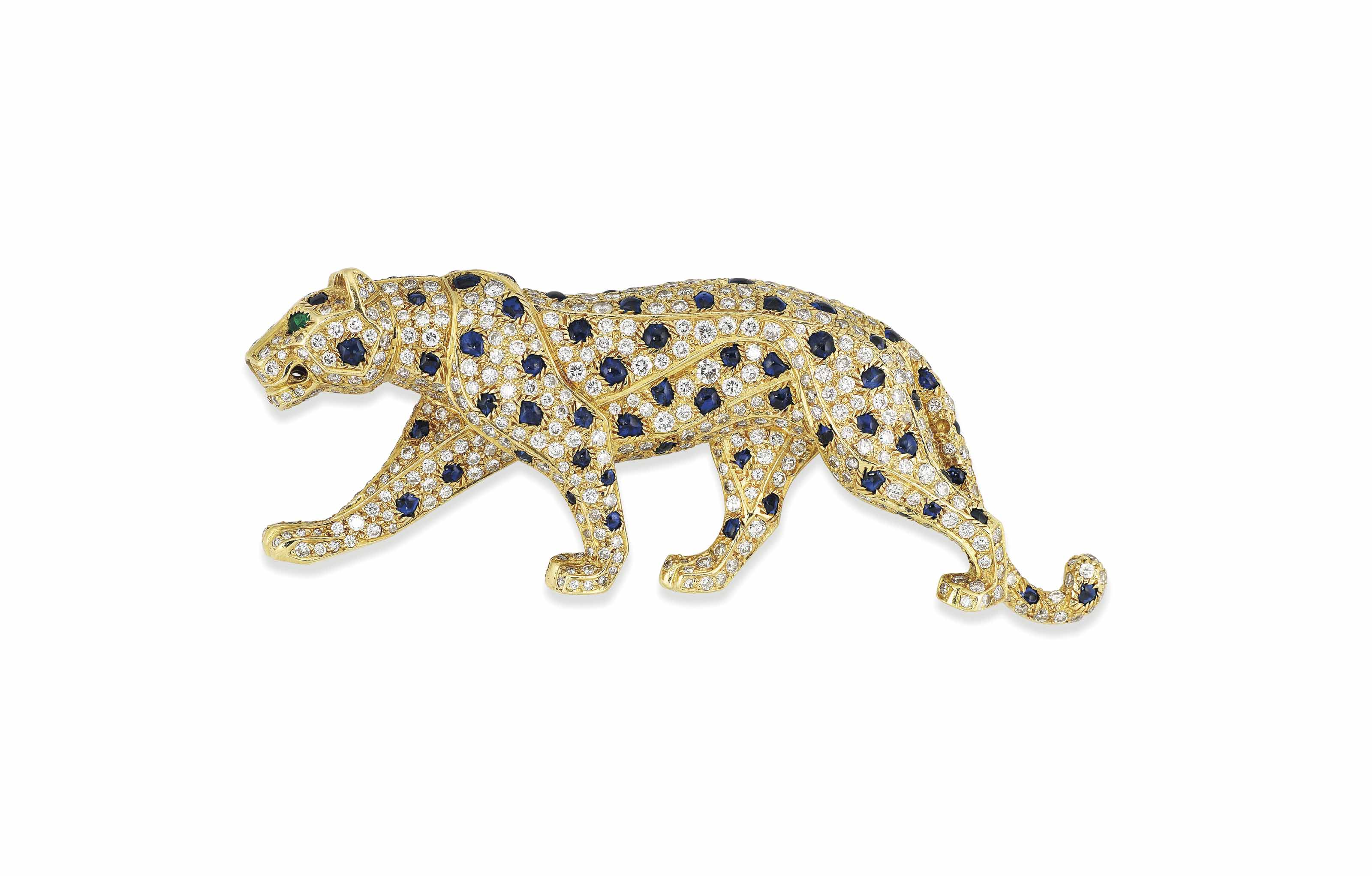 A SAPPHIRE AND DIAMOND 'PANTHERE' BROOCH, BY CARTIER