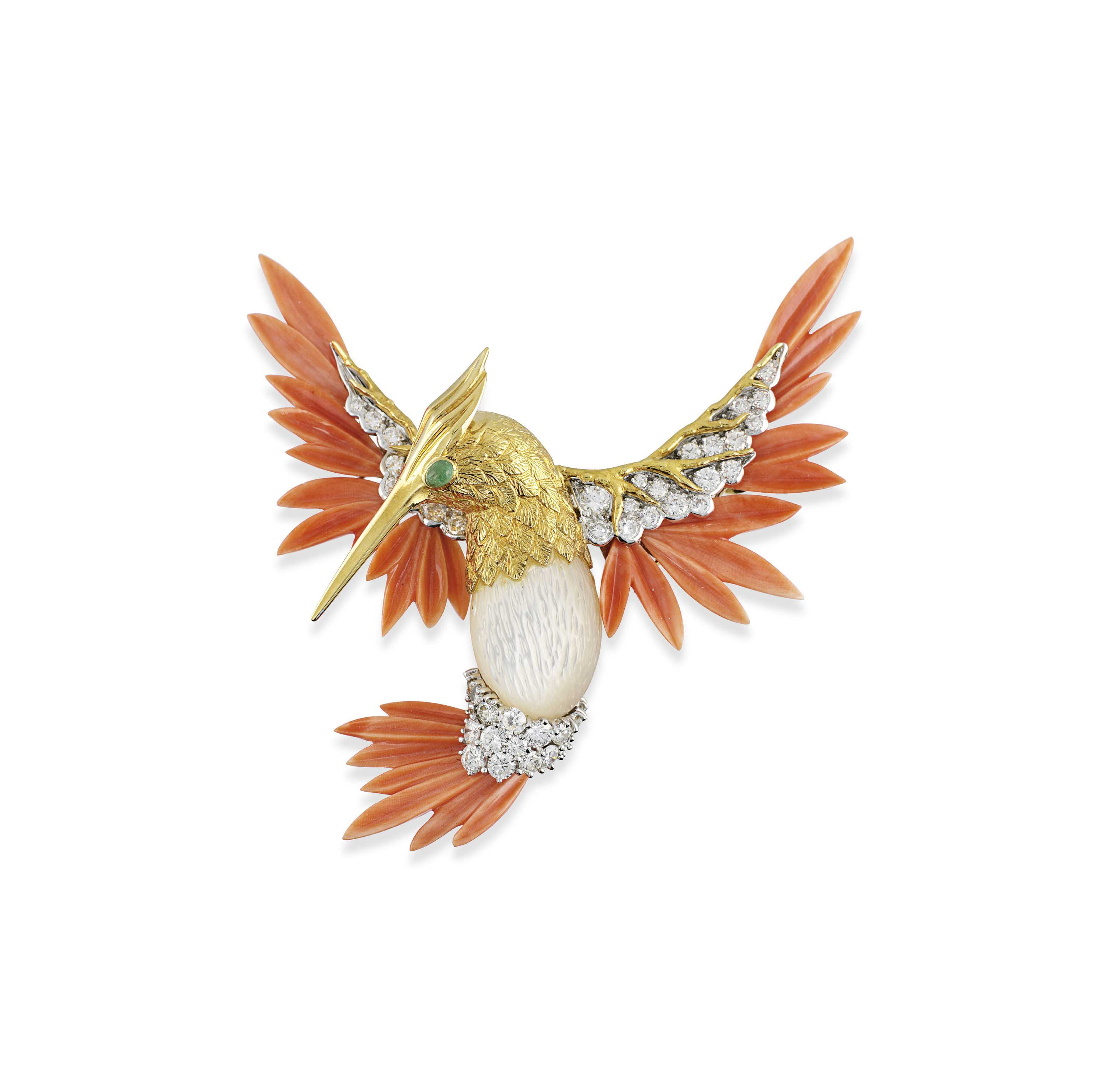 AN 18CT GOLD, CORAL, MOTHER-OF-PEARL AND DIAMOND HUMMINGBIRD BROOCH, BY KUTCHINSKY