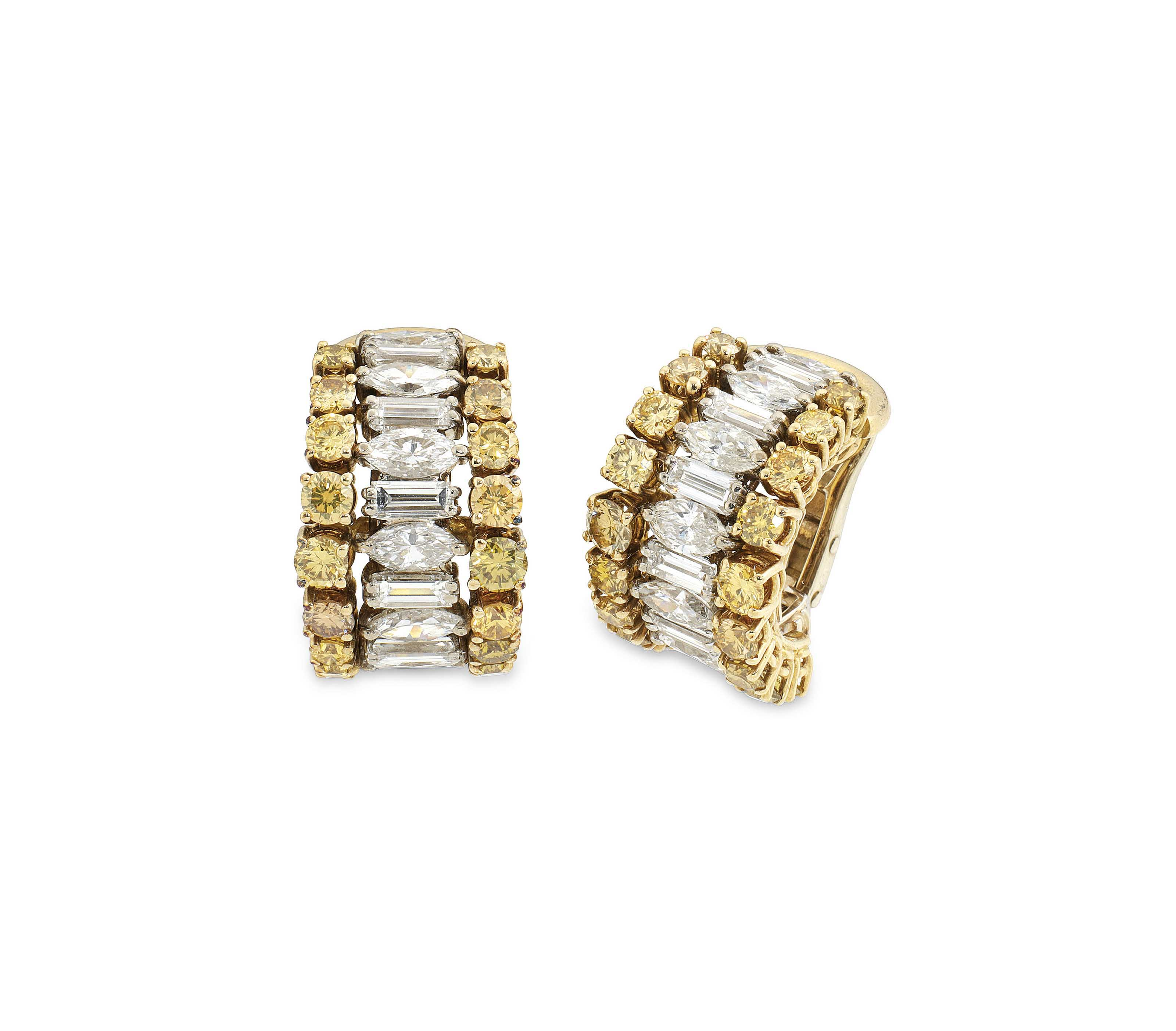 A PAIR OF COLOURED DIAMOND AND DIAMOND EARRINGS, BY ANDREW GRIMA