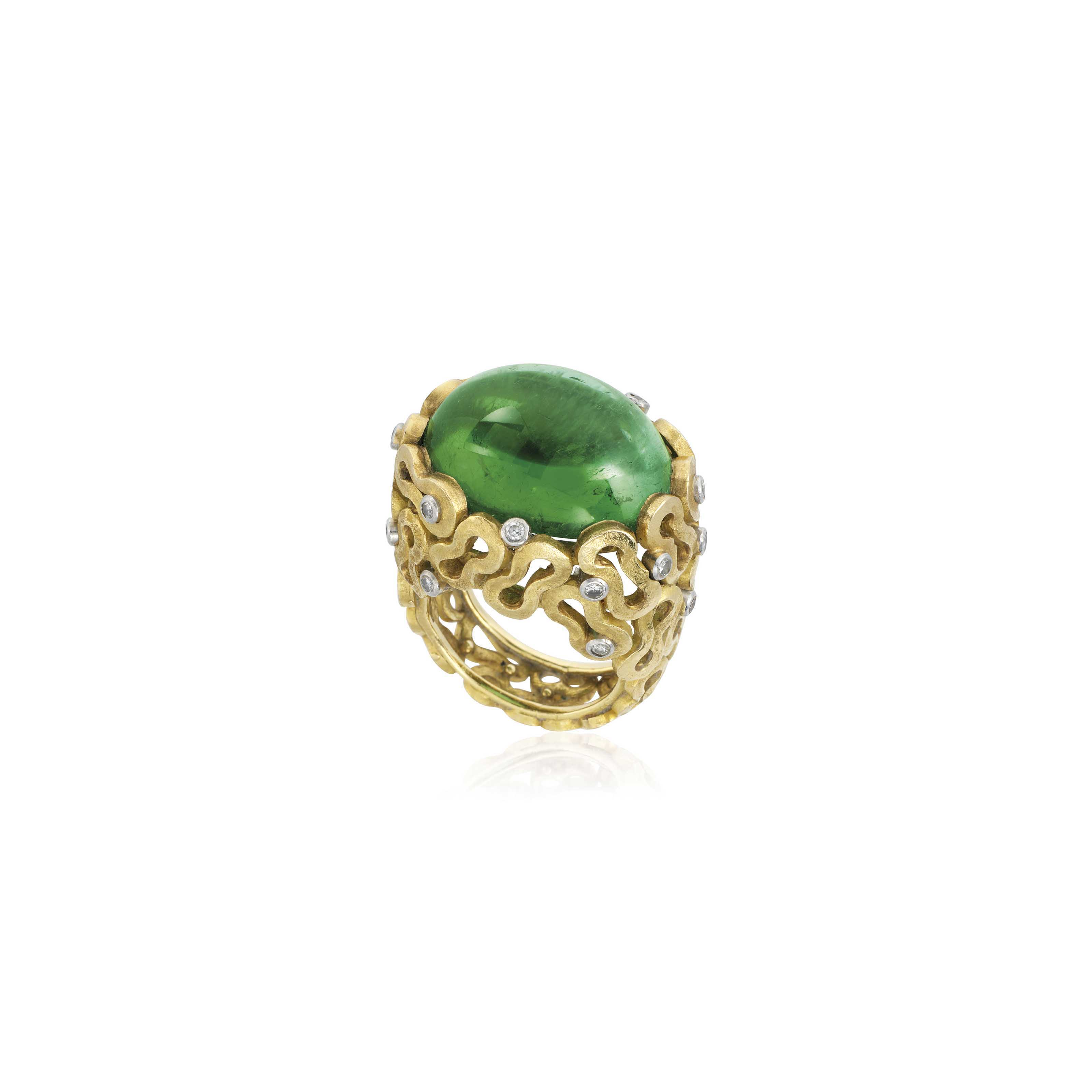 AN 18CT GOLD, TOURMALINE AND DIAMOND RING, BY ANDREW GRIMA