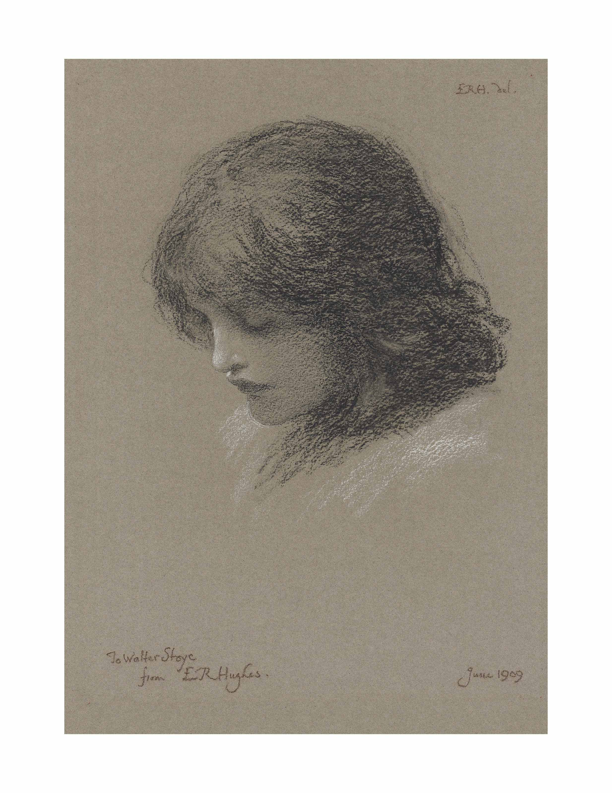 Head study of a young girl, looking downwards