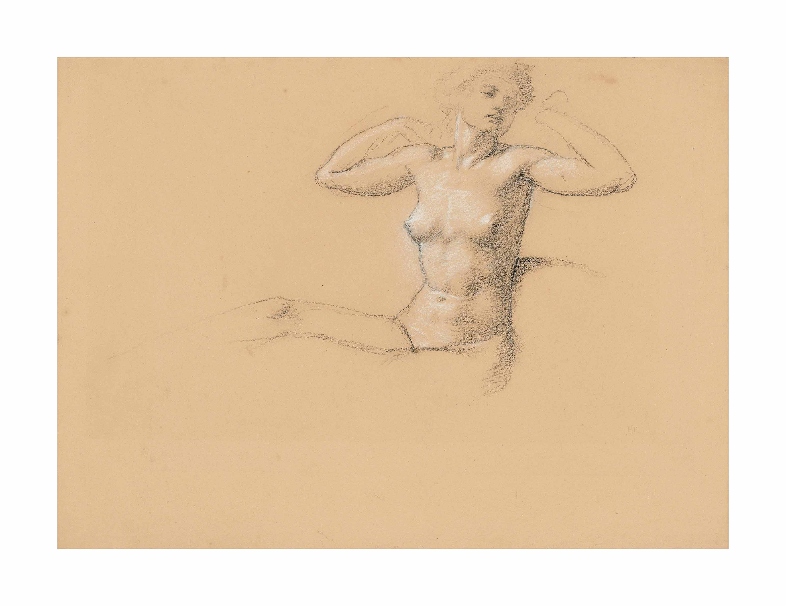 Study of a seated female nude, stretching out her arms (recto), with another study of a reclining female nude (verso)