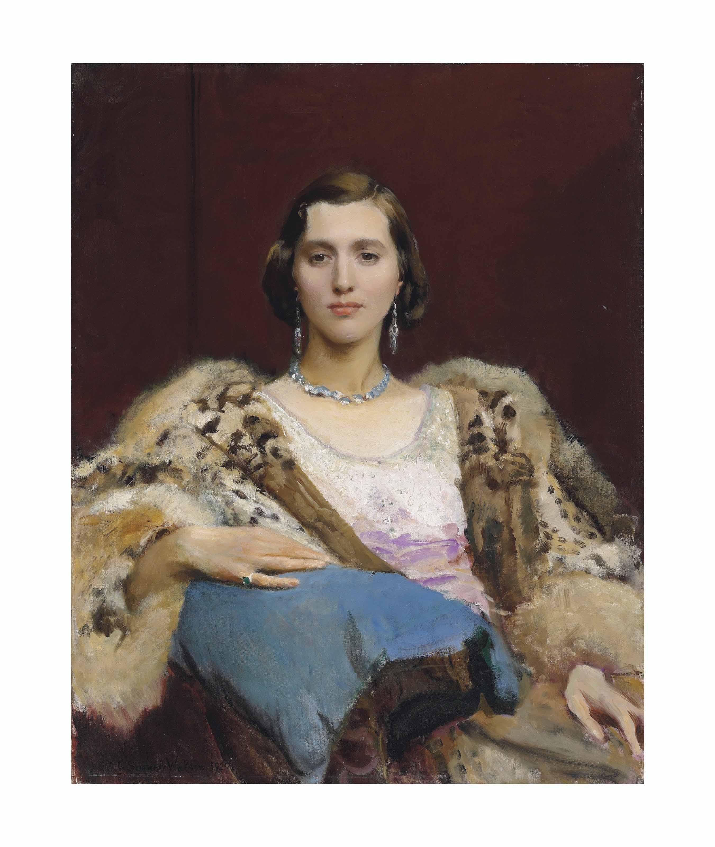 Portrait of Miss Dewitt wearing a leopard stole