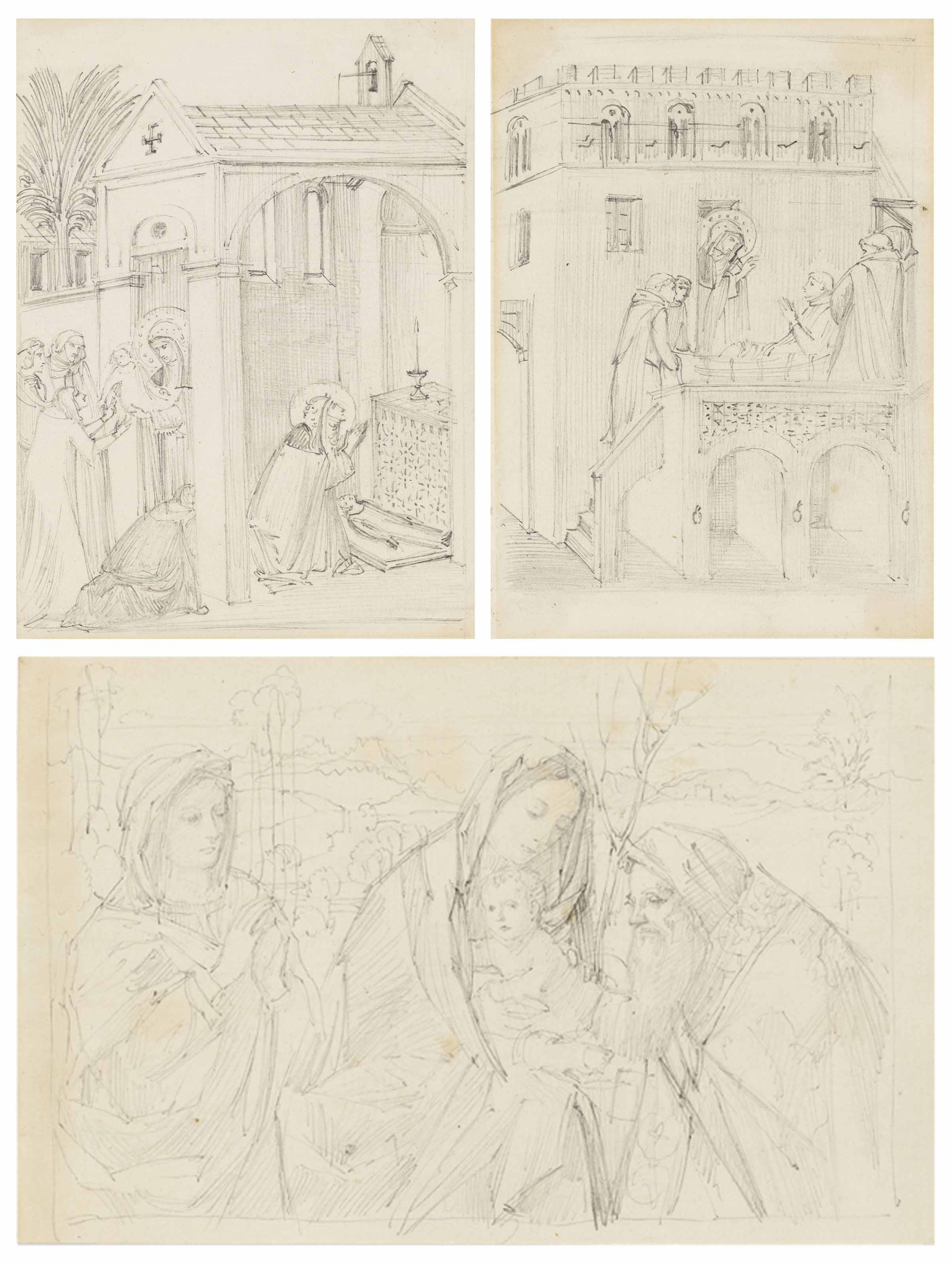 A collection of studies after Old Masters, including Piero della Francesca, Antonella da Messina, Hans Memling, Ambrogio Lorenzetti and others