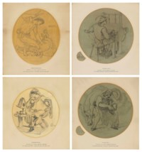 Four designs for the Manchester Jubilee Exhibition 1887: Shearing the Sheep - Wool; The Weaver; The Merchant - Commerce; and The Farrier - Iron and Machinery