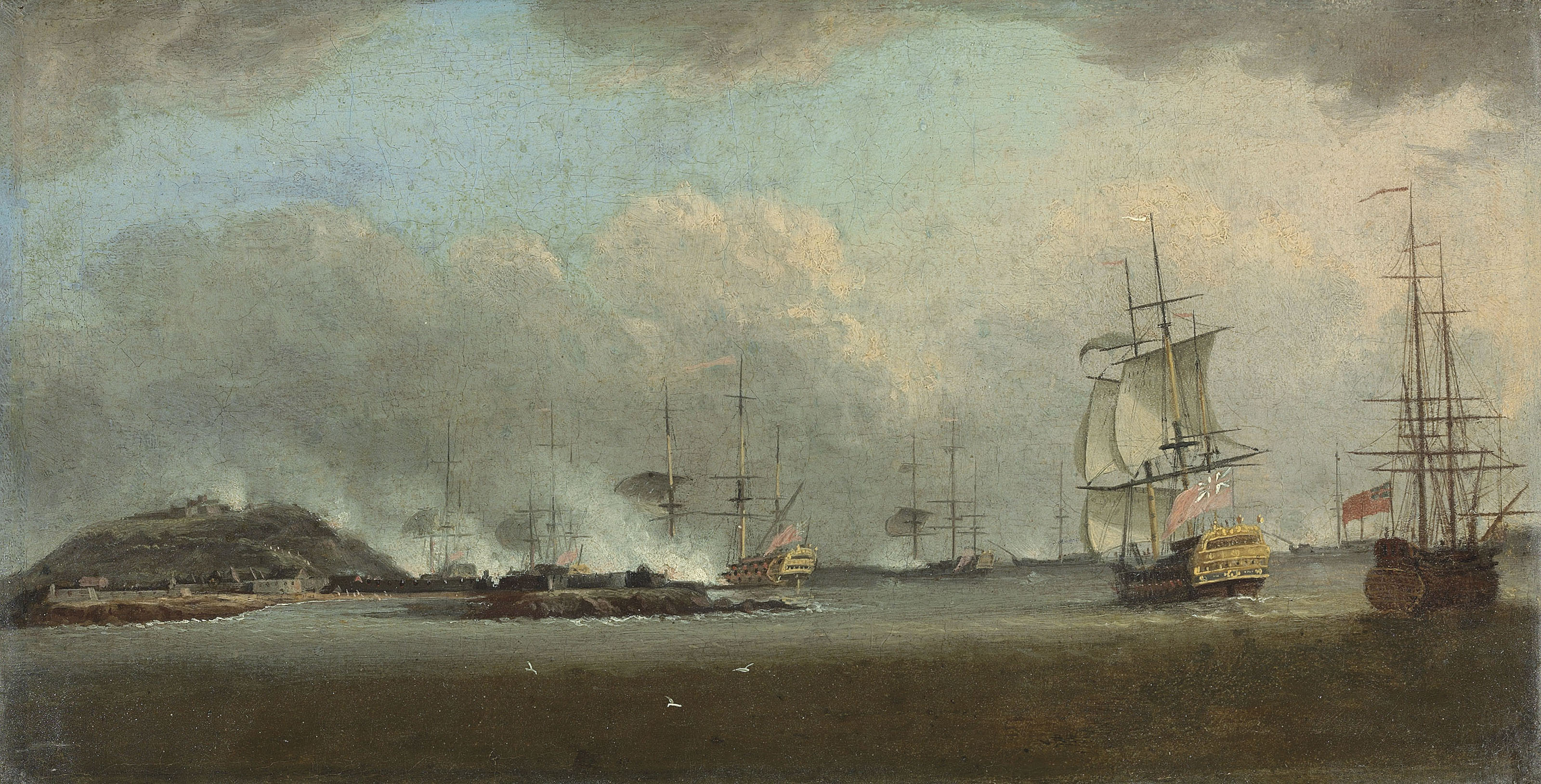 The attack on the island of Gorée, off the coast of Senegal, on 29 December 1758 under the command of Commodore The Honourable Augustus Keppel