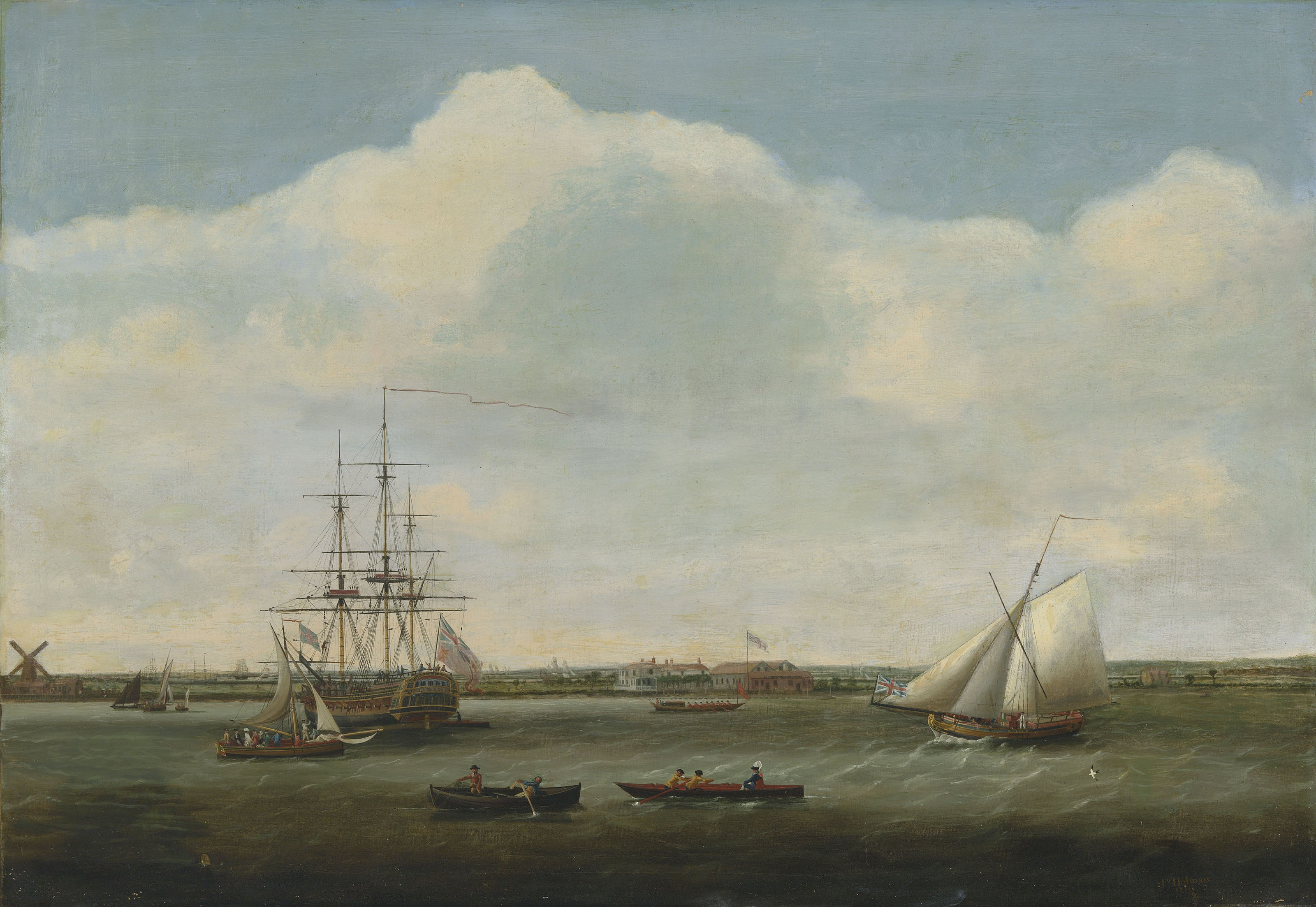 'Ready for Inspection': the brand new East Indiaman Dutton lying in the Thames at Deptford in the autumn of 1781 as her owner, Mr Henry Rice, and his party prepare to board and inspect her in advance of her maiden voyage