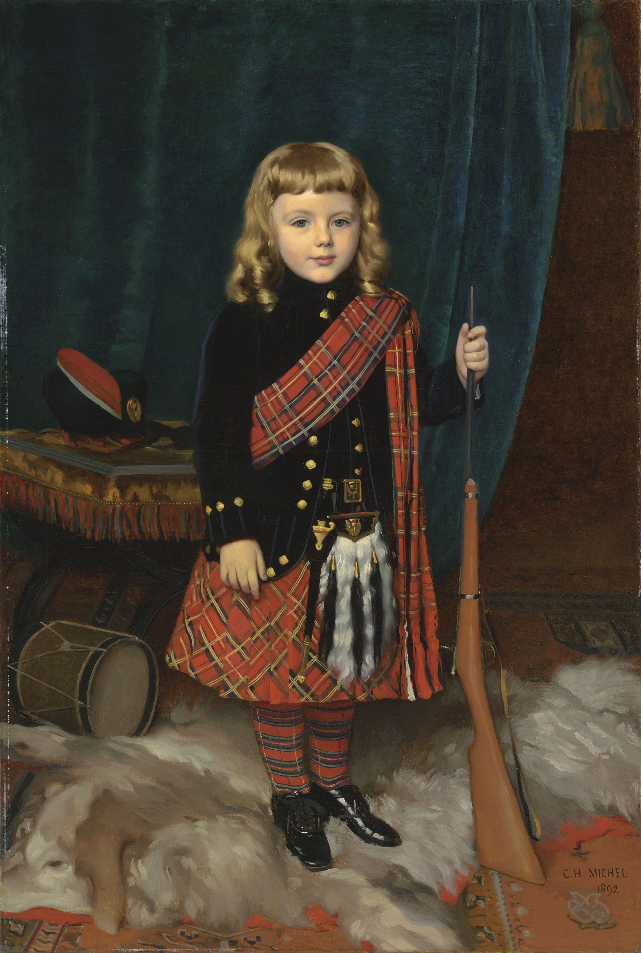 Portrait of a young boy, full-length, wearing Highland dress