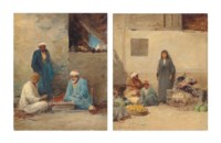 A Corner of a Market Place, Cairo; and Arabs in a Courtyard
