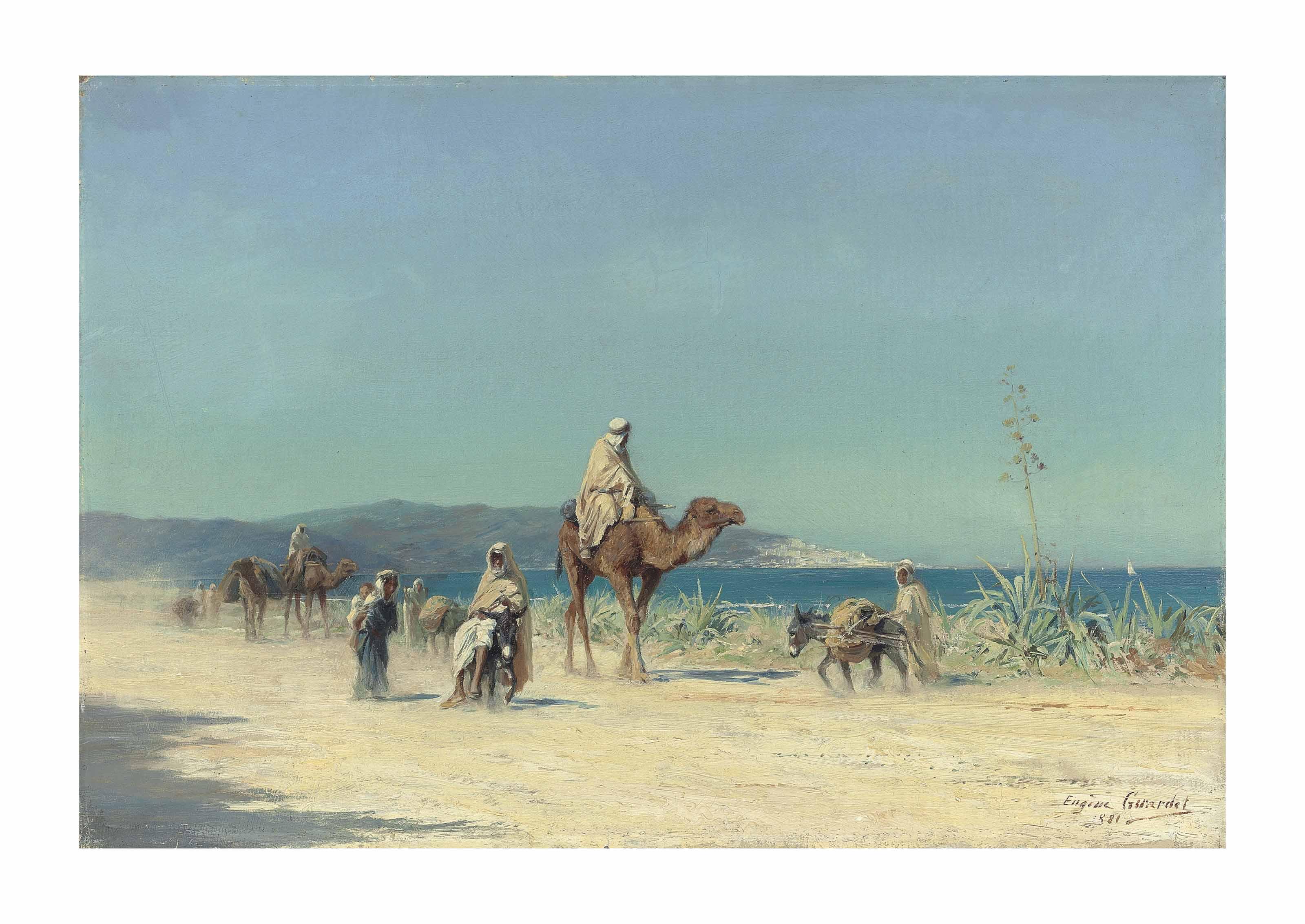 Arabs on a costal road