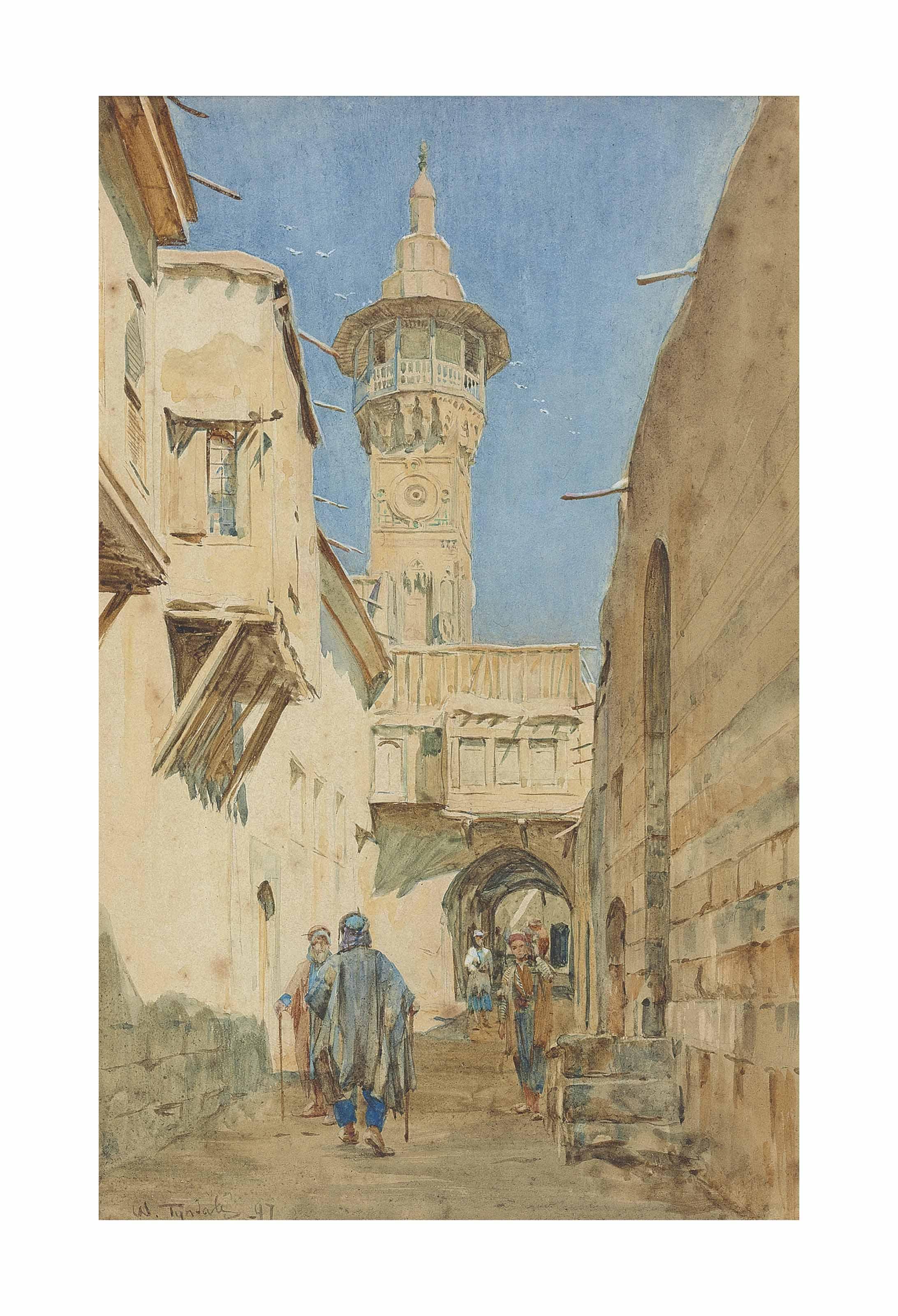 A bustling street before a minaret, Damascus