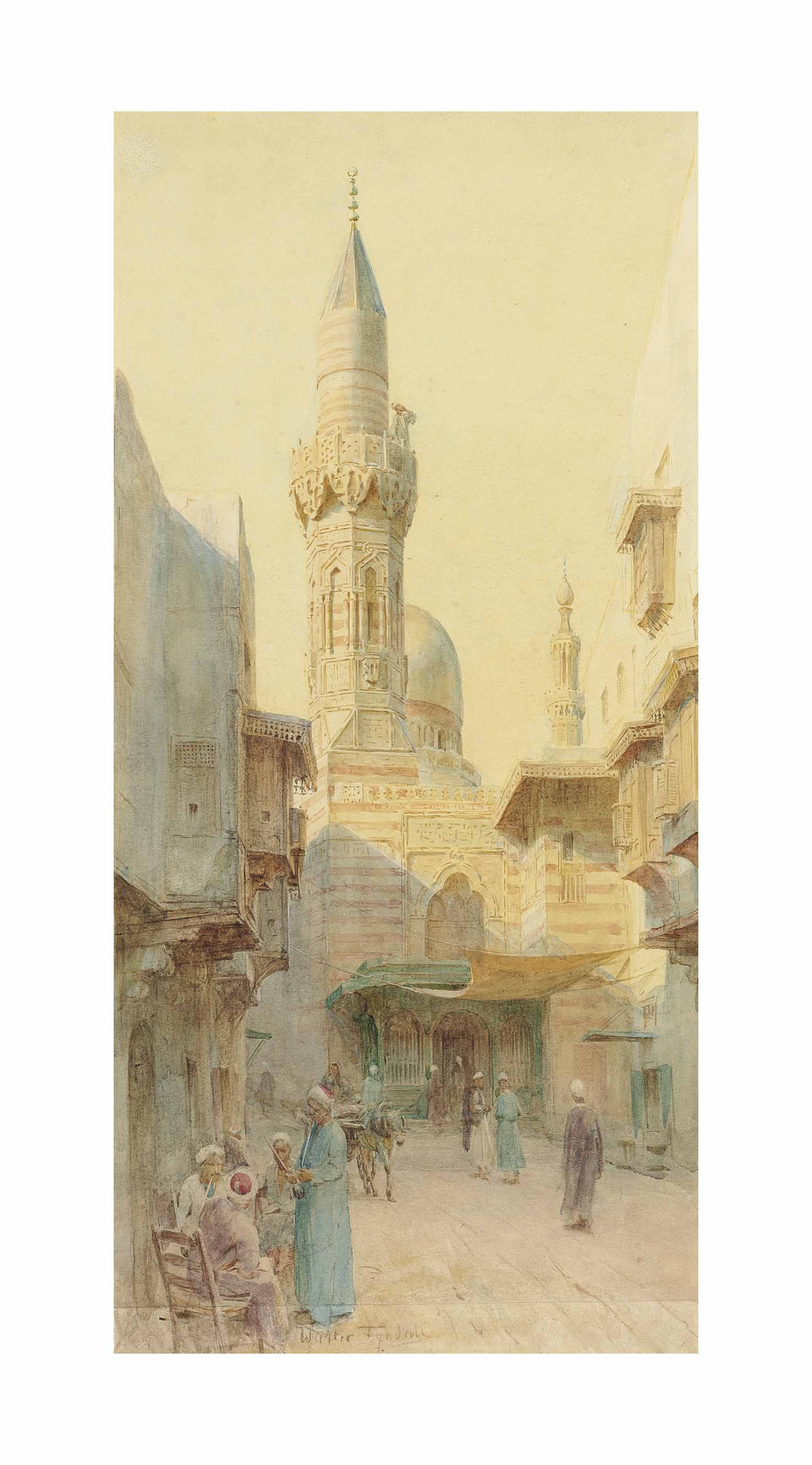 A bustling street in Cairo with a Minaret beyond