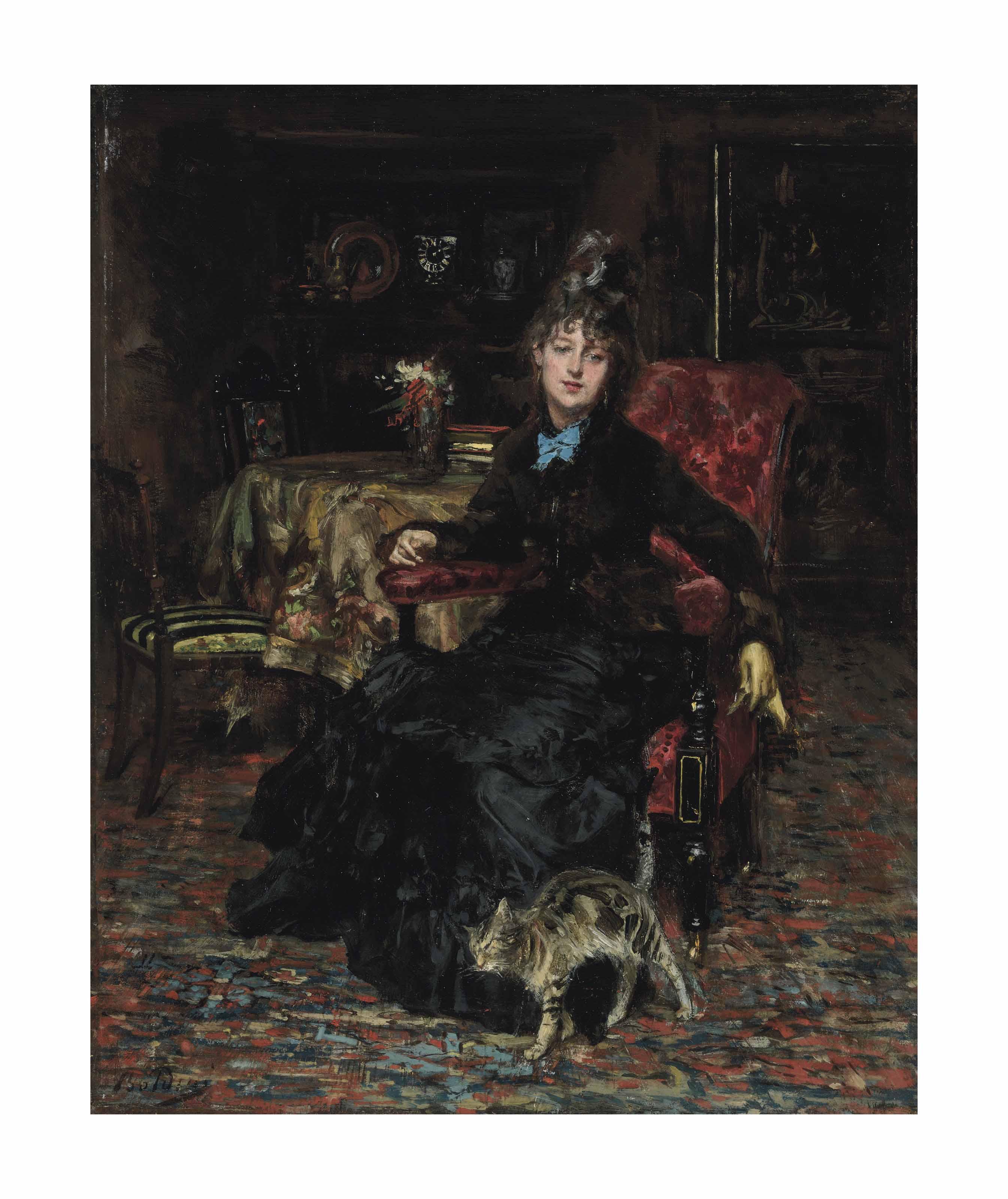 Signora seduta con gatto