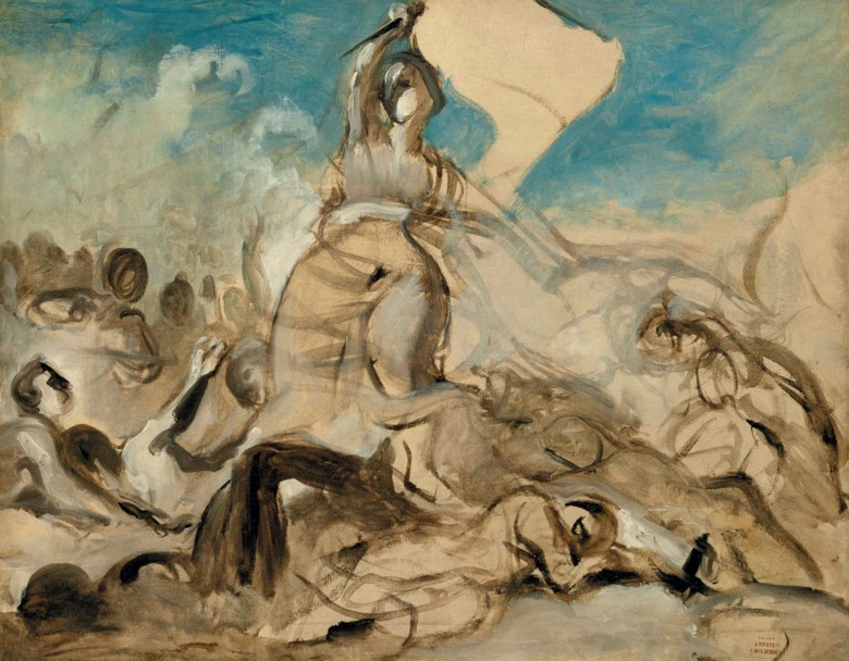 Eugène Delacroix (1798-1863), Le 28 juillet — la liberté guidant le peuple, circa 1830. Oil on canvas. 25⅜ x 32  in (64.5 x 81.3  cm). Sold for £3,128,750 on 14 December 2017 at Christie's in London