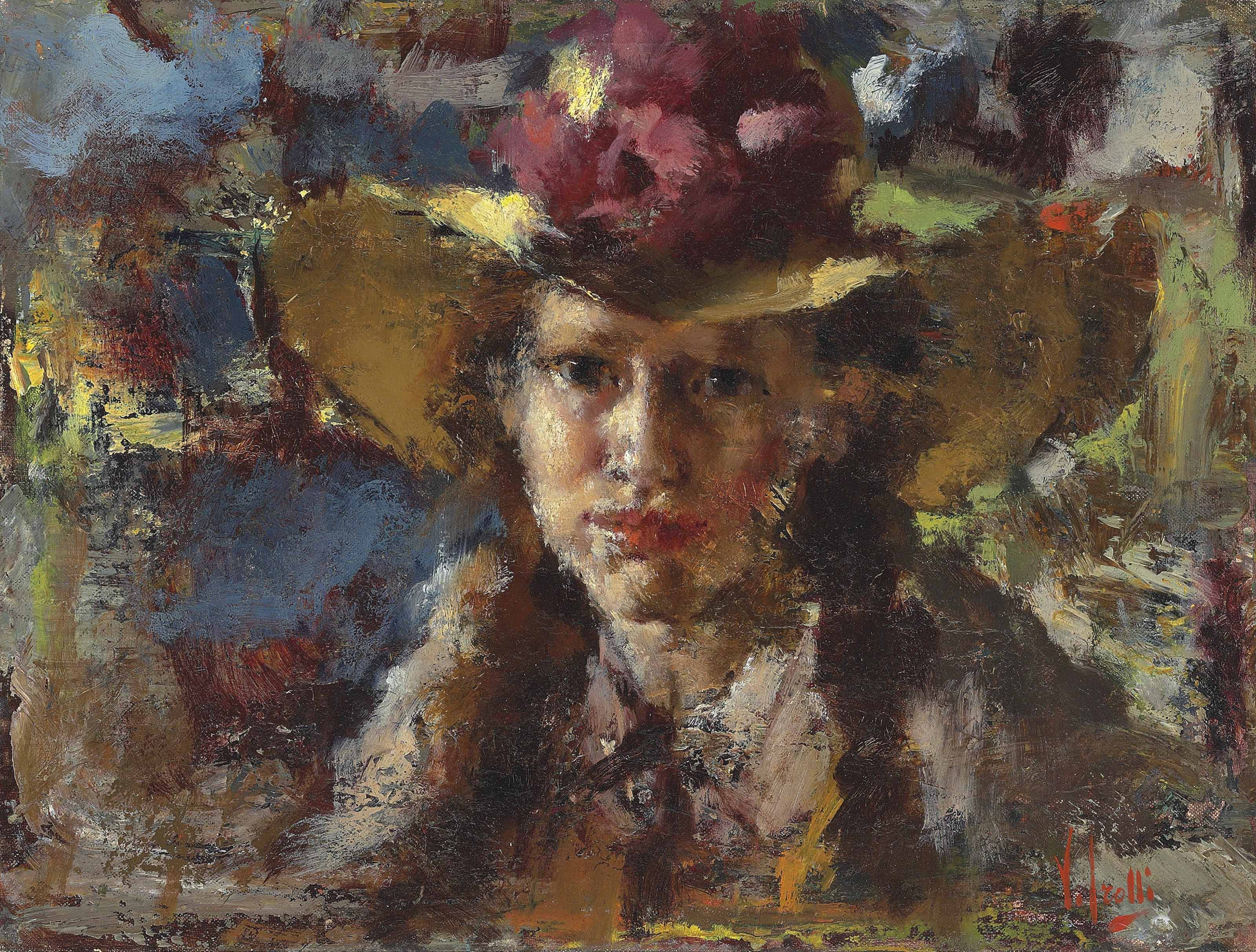 Portrait of a young lady with a hat