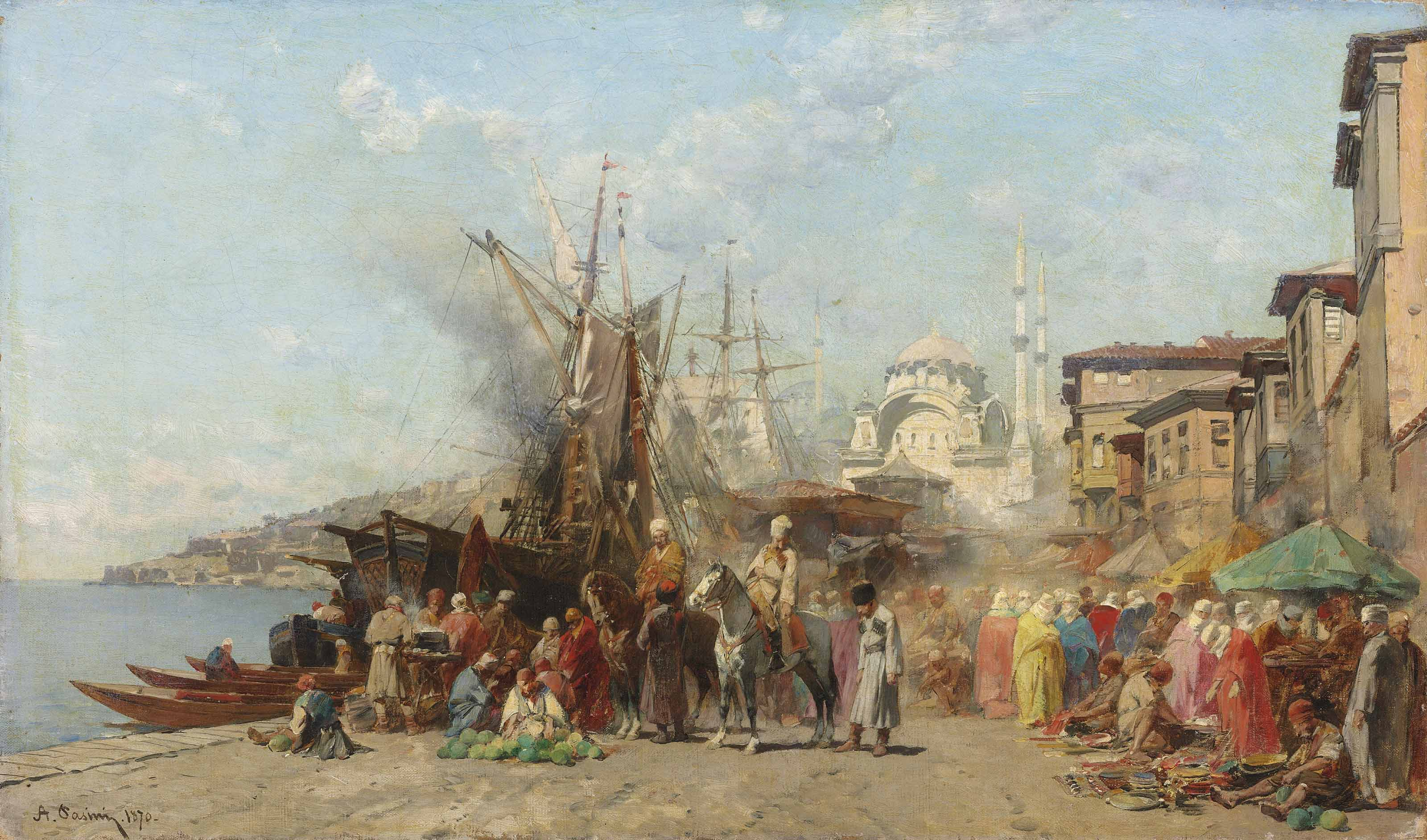 A market before Nusretiye Camii mosque in Tophane, Constantinople