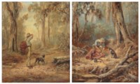 'Undecided'; and 'Equal shares': a swagman and his dog in the bush