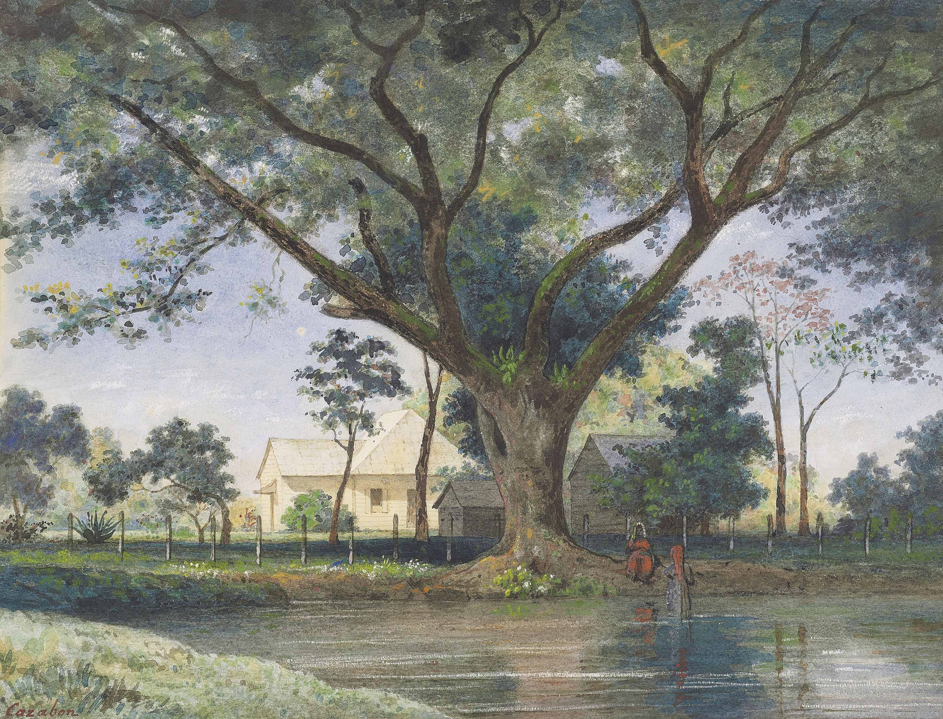 Figures bathing in a pool, plantation houses beyond, Trinidad