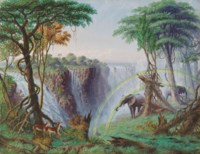 The Mosi-o-a-tunya (Smoke resounding) or Victoria Falls of the Zambesi River, Latitude 17.55.4 South
