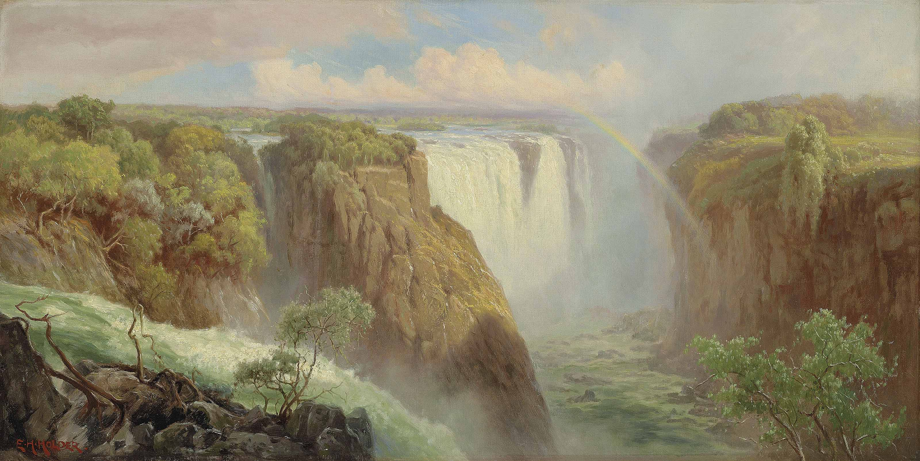 The Devil's Cataract and Victoria Falls, from the west bank of the Zambezi River