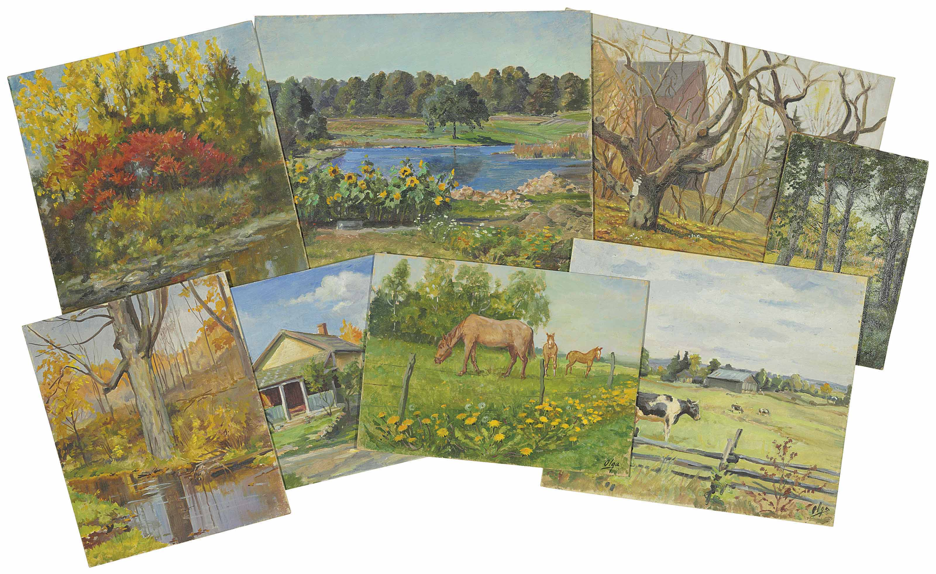 Four landscapes; Two views of a house; A study of horses; and A study of cows