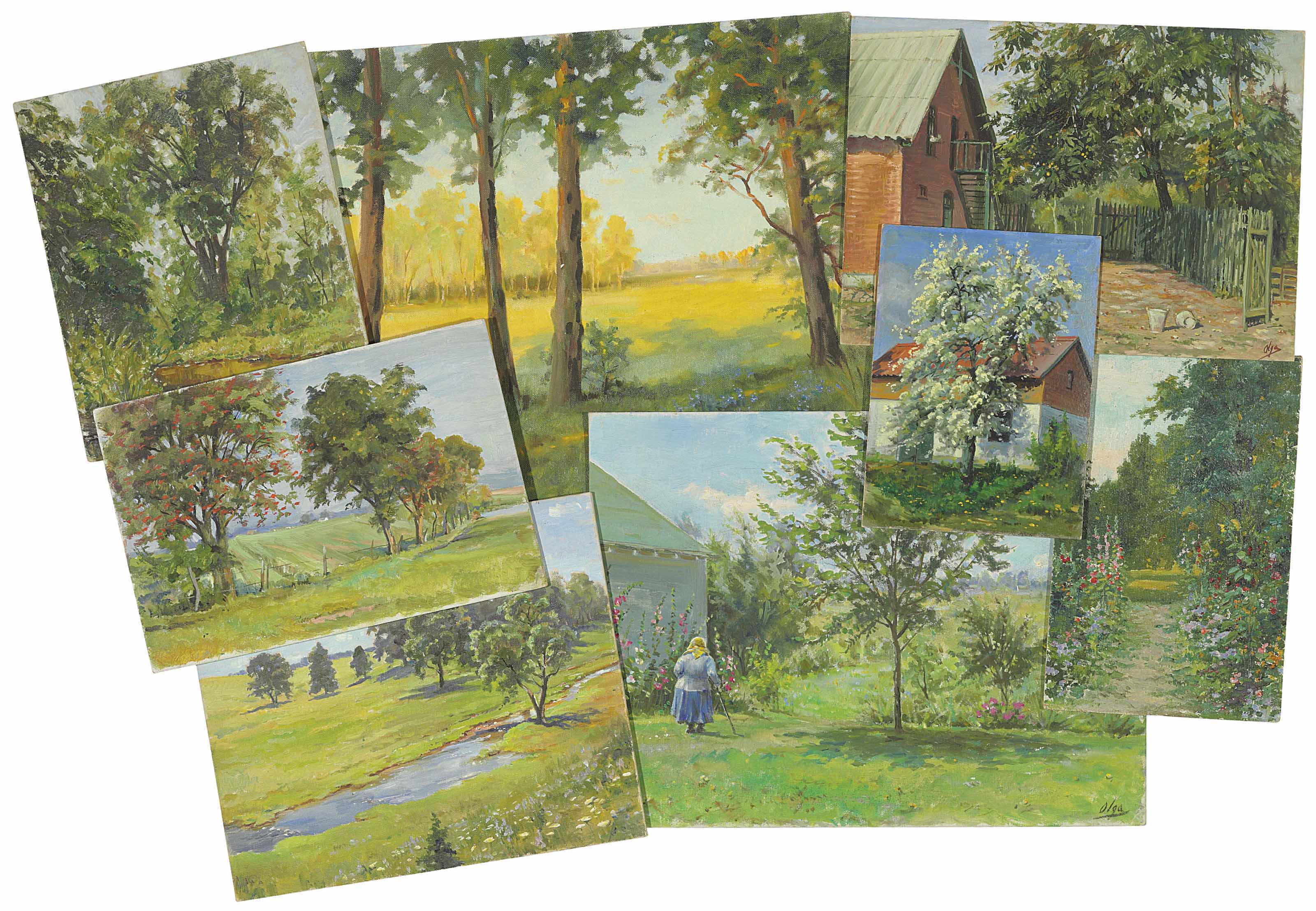 Five landscapes; and Three views of a house