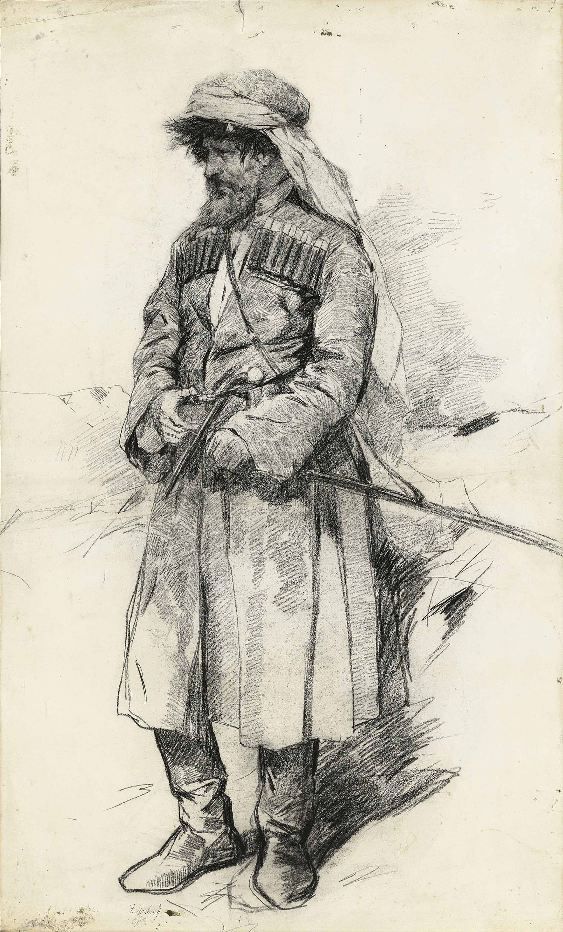 Study of Imam Shamil (1797-1871) for 'The surrender of aul Gunib and imprisonment of Imam Shamil on 25 August 1859'