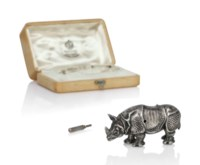 AN EXTREMELY RARE AND IMPRESSIVE IMPERIAL SILVER RHINOCEROS AUTOMATON