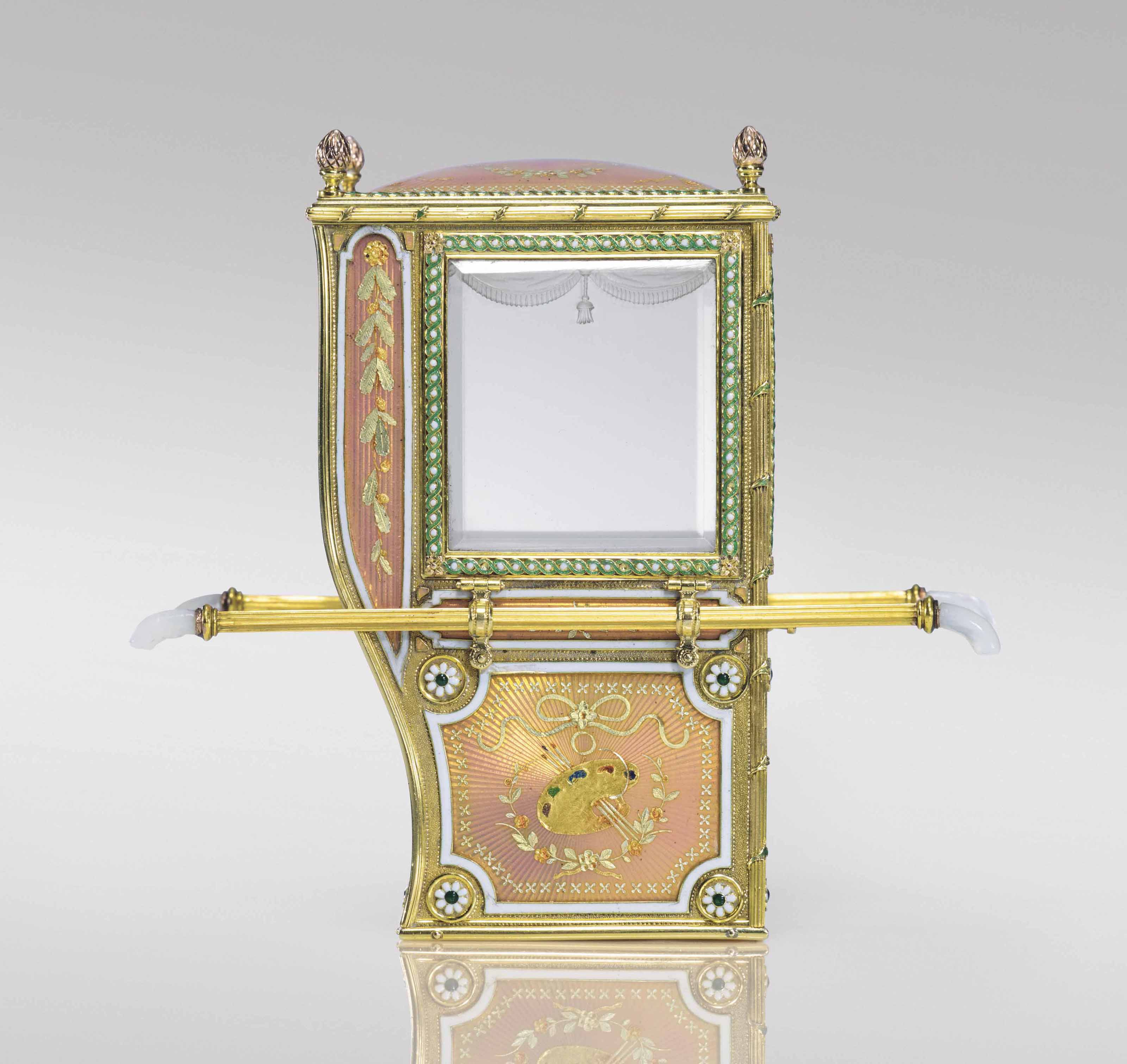 AN EXCEPTIONAL AND RARE GUILLOCHÉ ENAMEL AND VARICOLOUR GOLD MINIATURE MODEL OF A SEDAN CHAIR