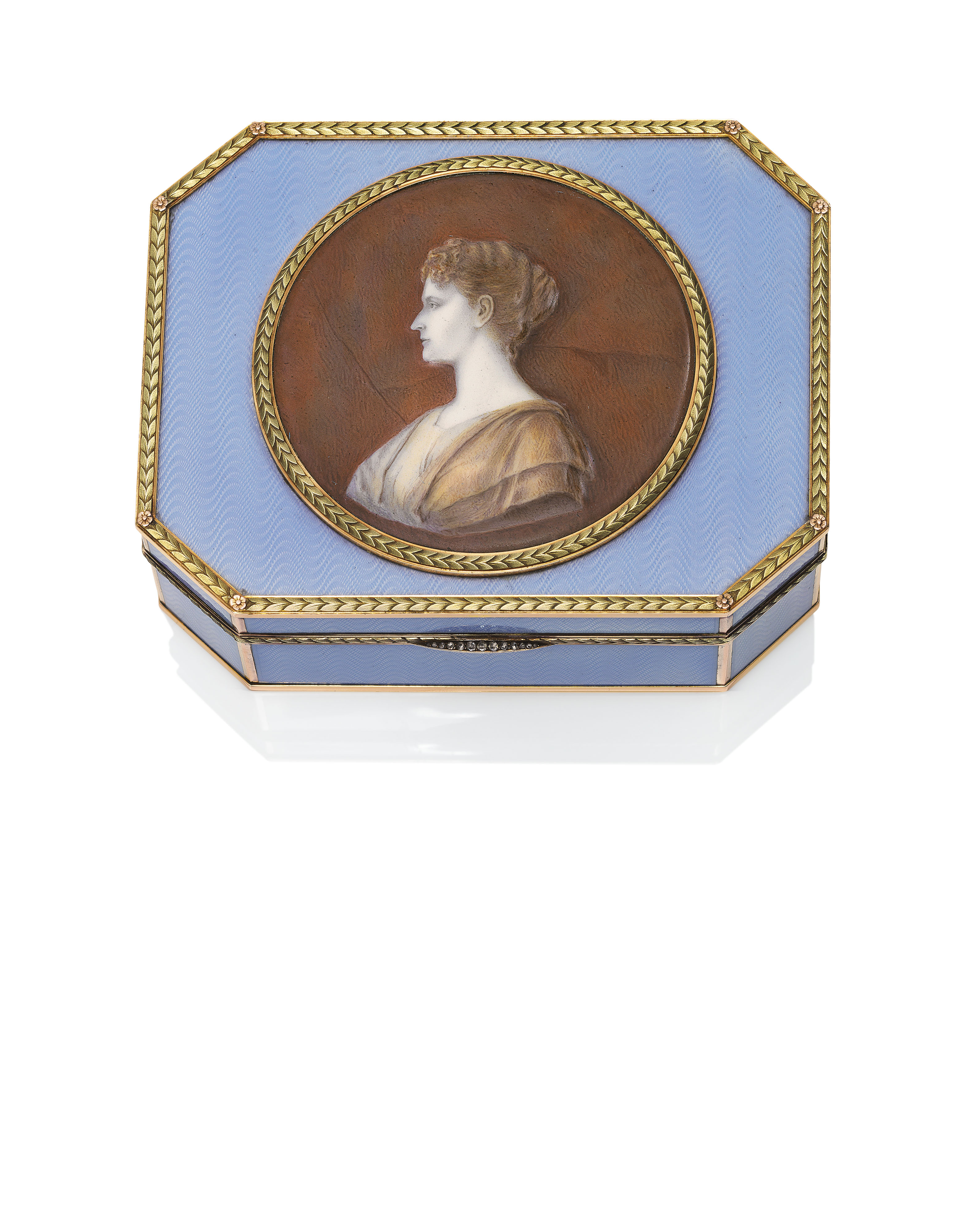 AN IMPRESSIVE AND RARE JEWELLED AND GUILLOCHÉ ENAMEL TWO-COLOUR GOLD-MOUNTED SILVER IMPERIAL PRESENTATION SNUFF BOX WITH PORCELAIN PORTRAIT PLAQUE