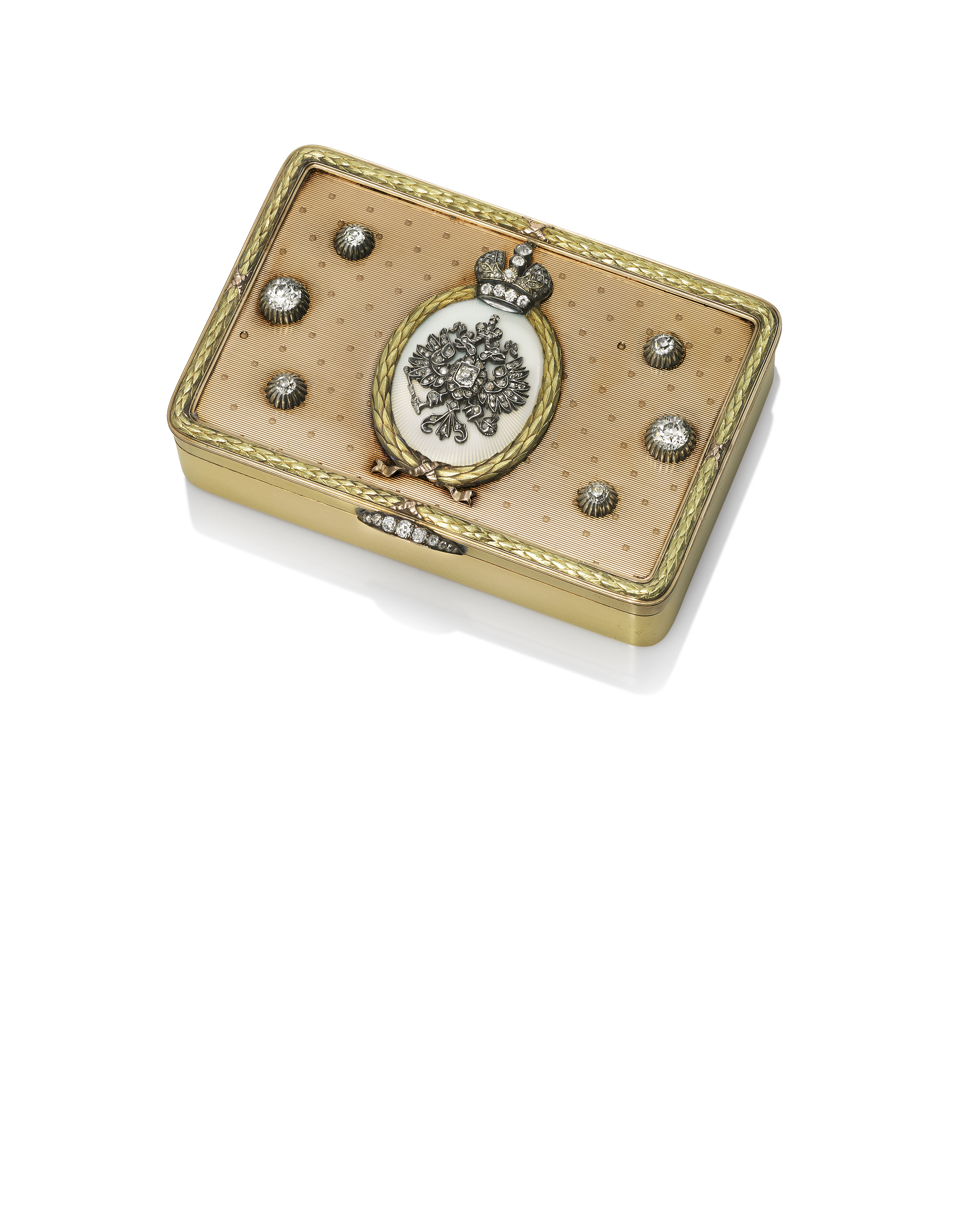 A JEWELLED GUILLOCHÉ ENAMEL AND TWO-COLOUR GOLD IMPERIAL PRESENTATION SNUFF-BOX