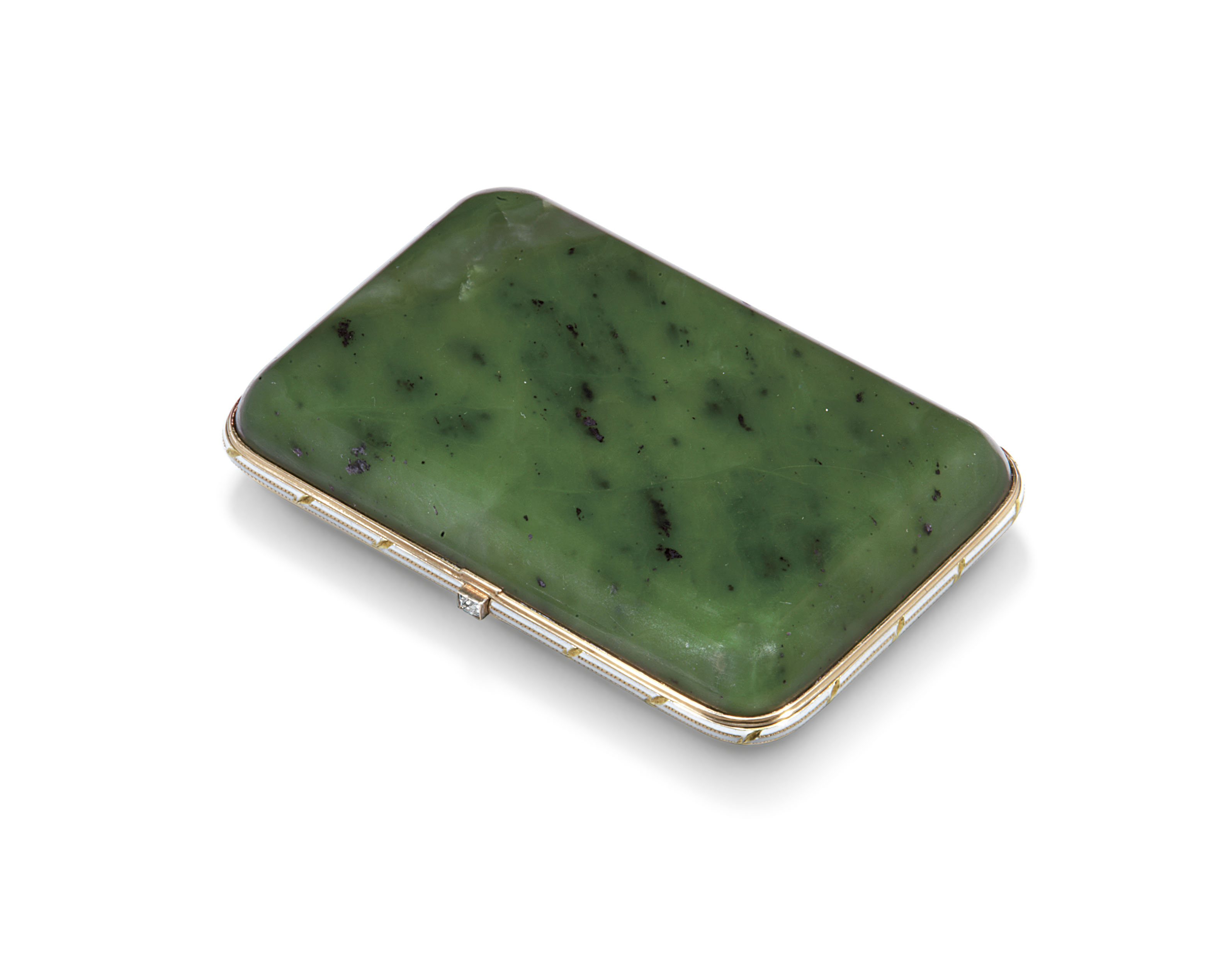 A JEWELLED AND CHAMPLEVÉ ENAMEL TWO-COLOUR GOLD-MOUNTED NEPHRITE CIGARETTE CASE