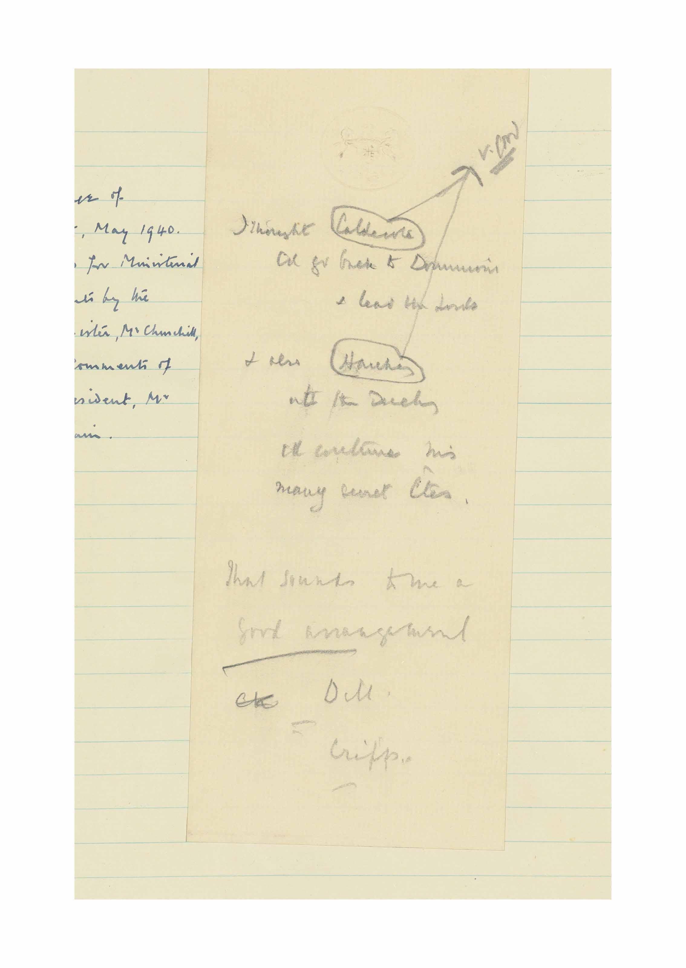 CHURCHILL, Winston Spencer (1874-1965). Autograph memorandum, n.p...